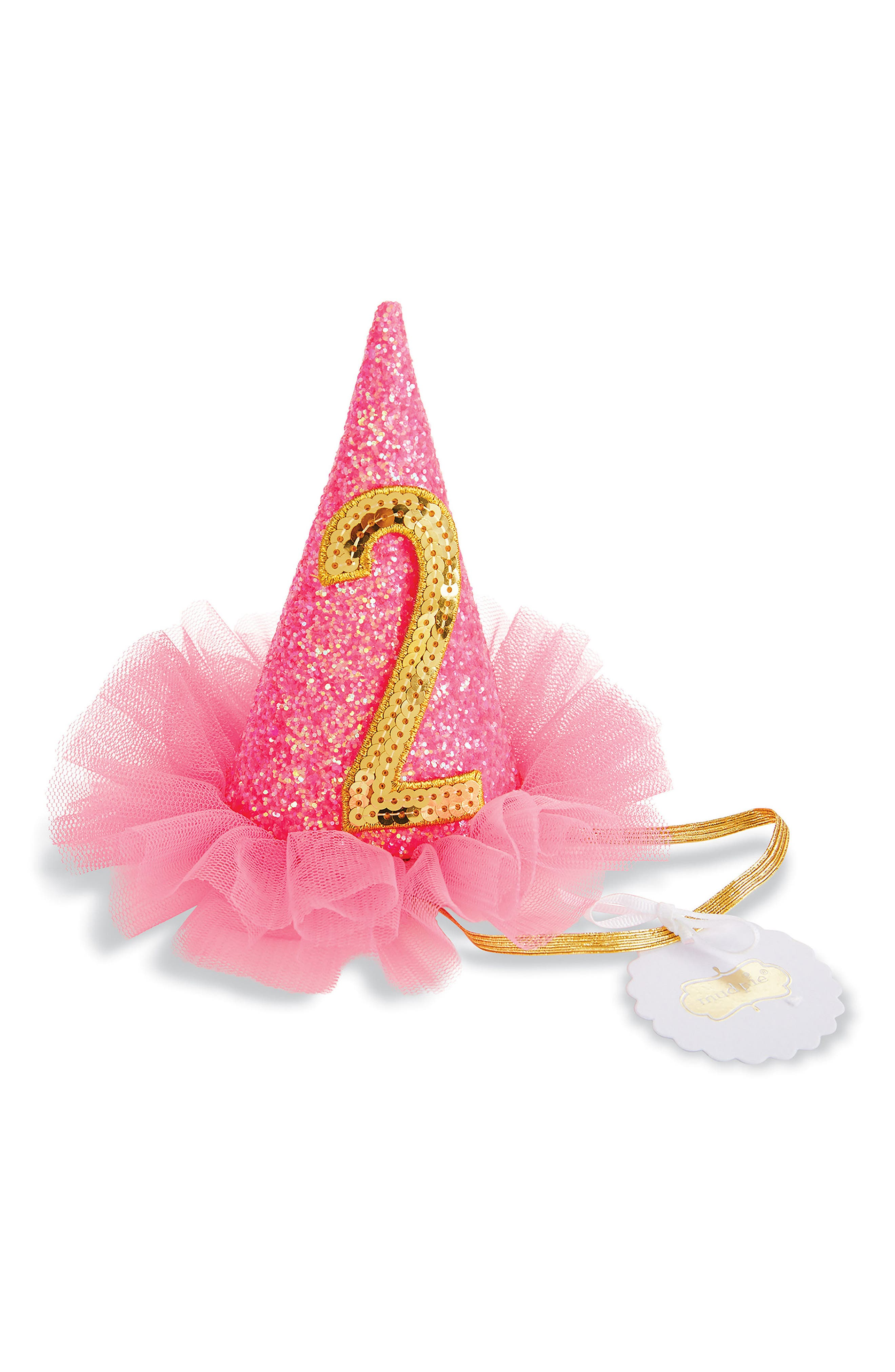 Birthday Glitter Party Hat,                             Main thumbnail 1, color,                             Pink/ 2