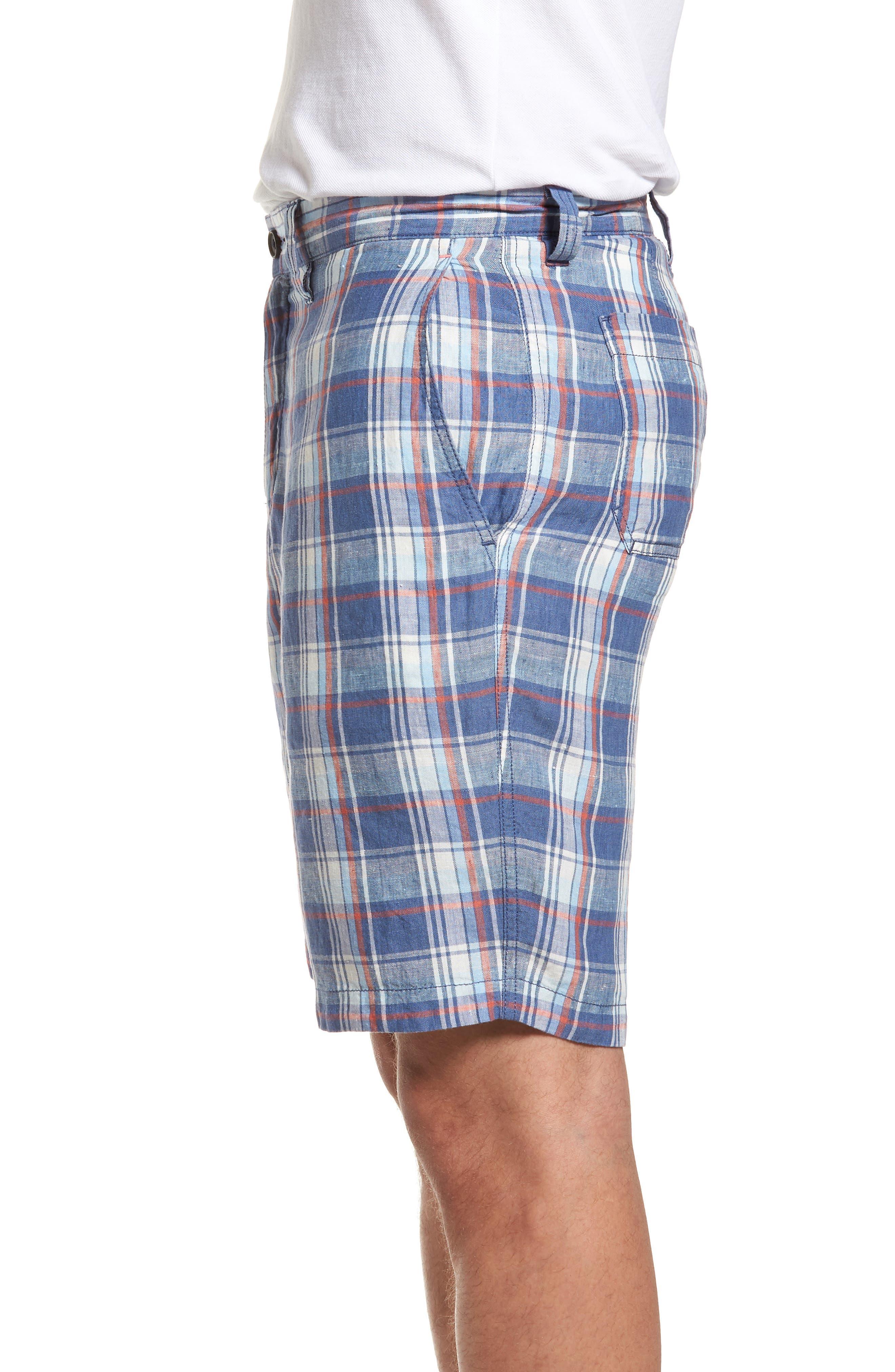 Plaid de Leon Reversible Linen Shorts,                             Alternate thumbnail 4, color,                             Dockside Blue