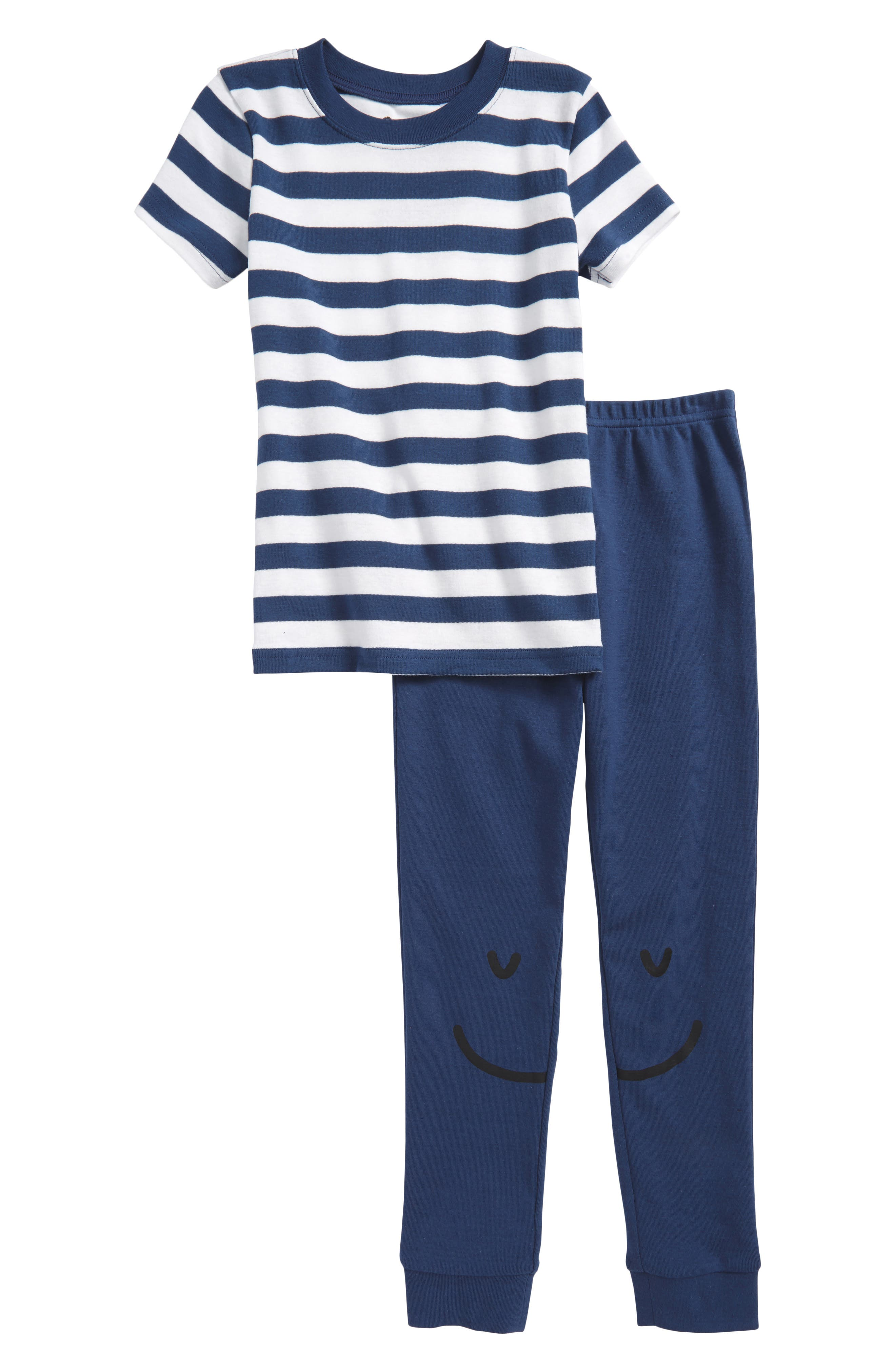 Print Fitted Two-Piece Pajamas,                         Main,                         color, Navy Denim- White Stripe