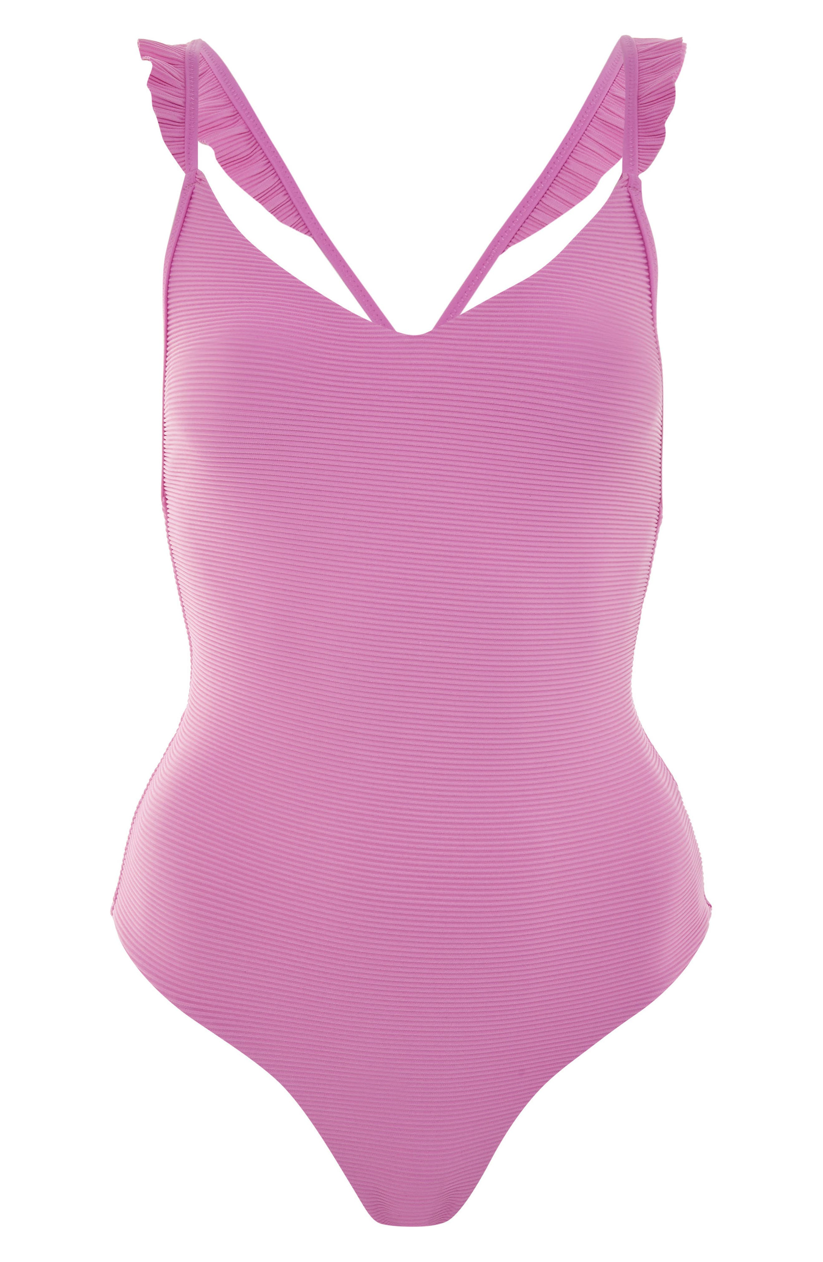 Frill Ribbed One-Piece Swimsuit,                             Alternate thumbnail 3, color,                             Pink