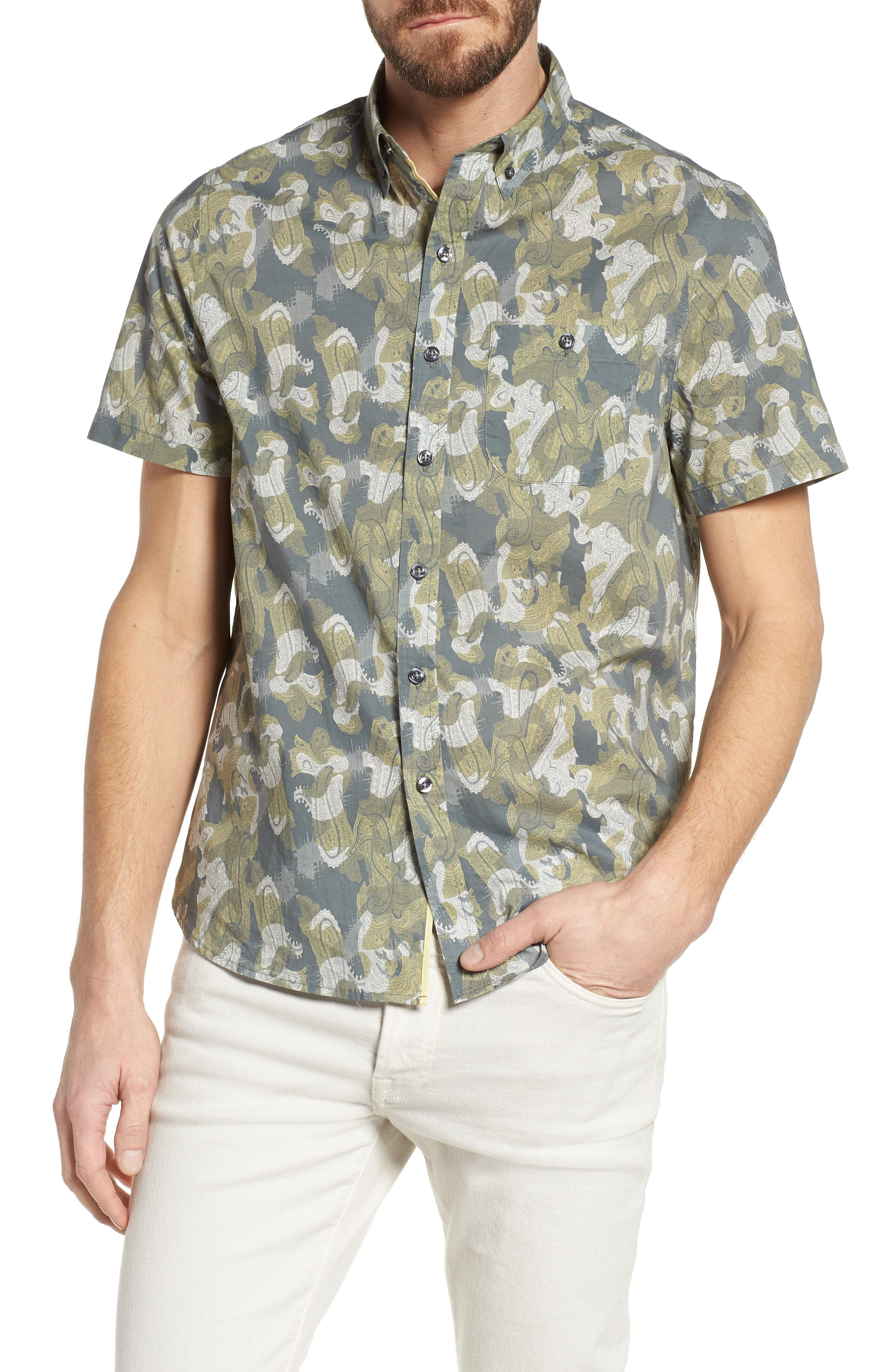 Paisley Print Short Sleeve Sport Shirt,                         Main,                         color, Seahorse Paisley Print