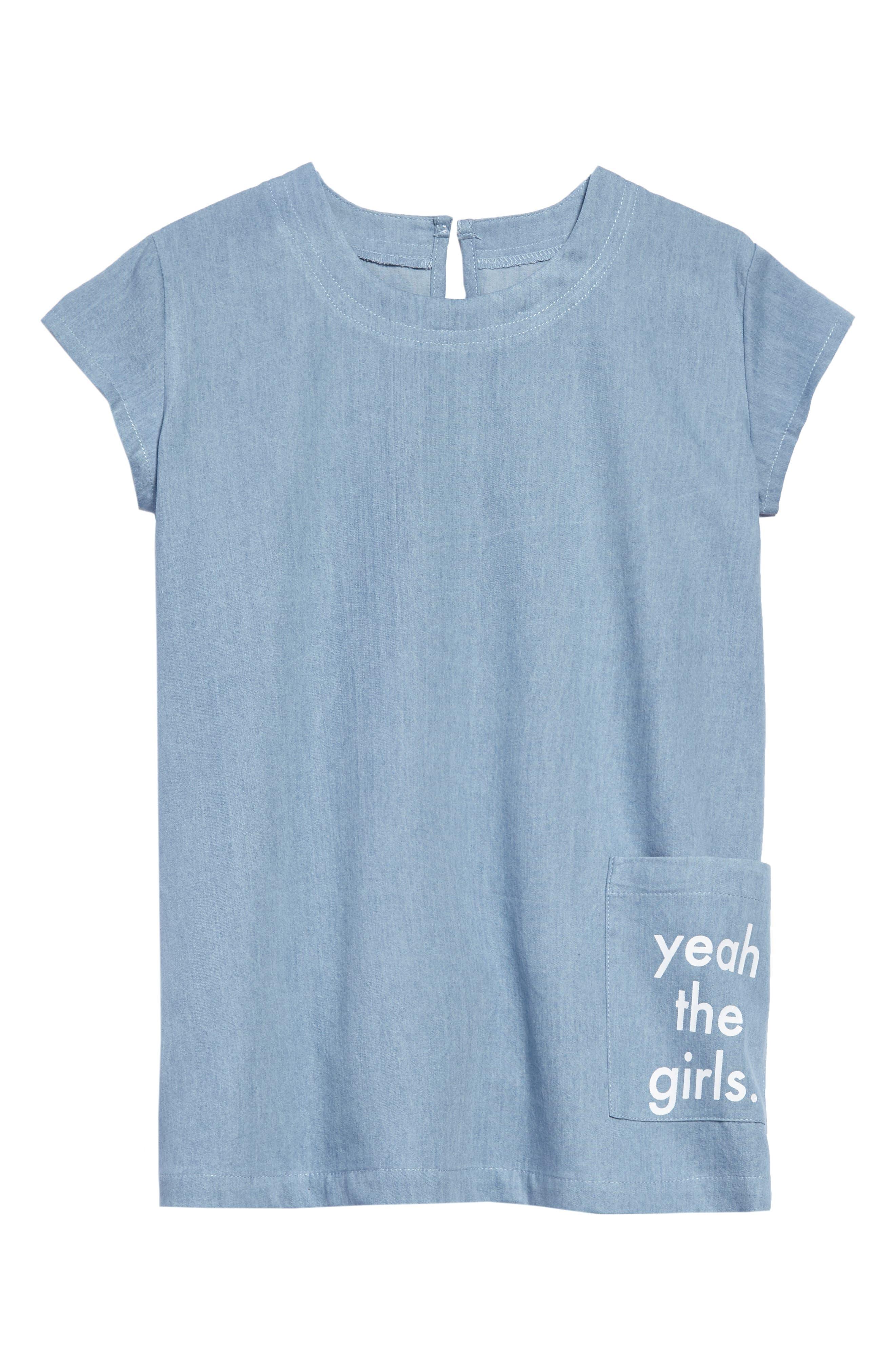 Yeah the Girls Chambray Dress,                             Main thumbnail 1, color,                             Chambray