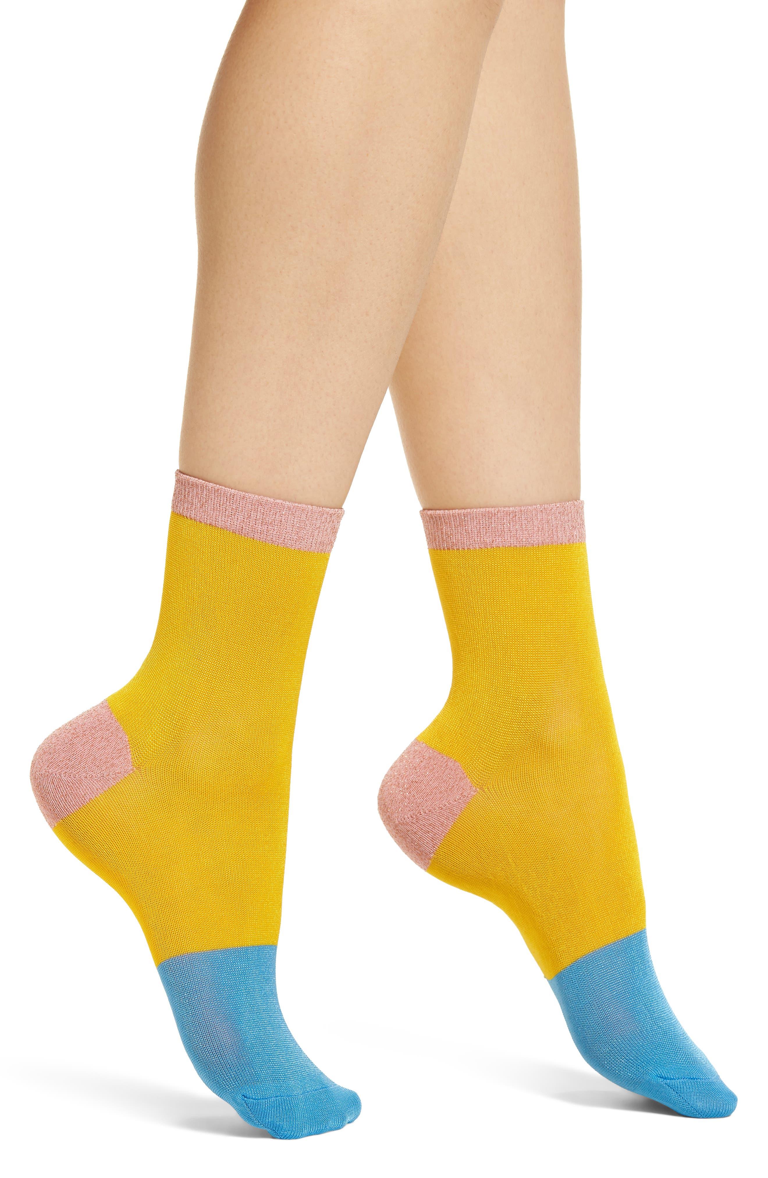 Liza Sparkle Ankle Socks,                             Main thumbnail 1, color,                             Yellow
