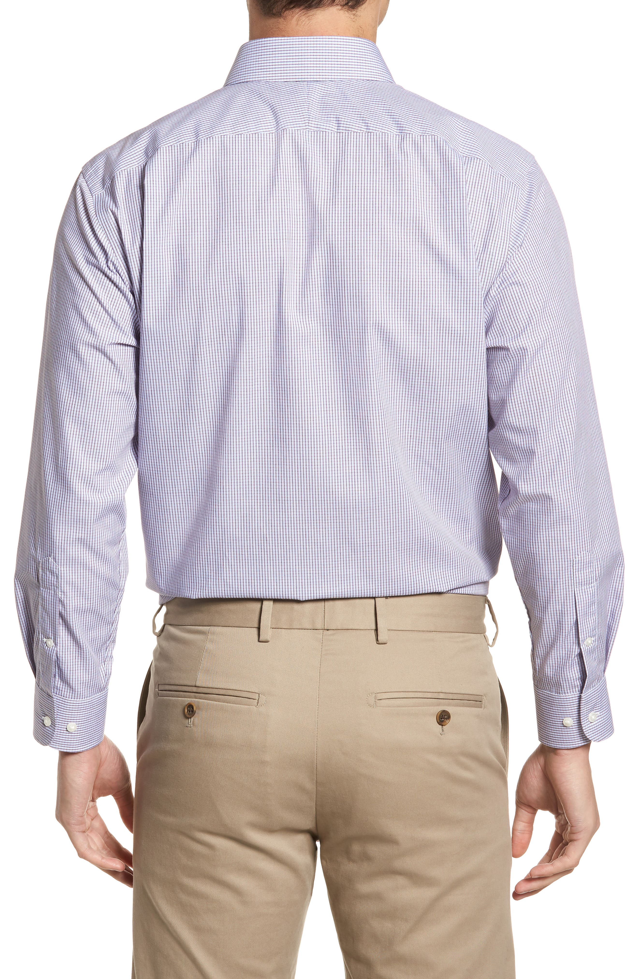 Traditional Fit Non-Iron Check Dress Shirt,                             Alternate thumbnail 3, color,                             Burgundy Royale
