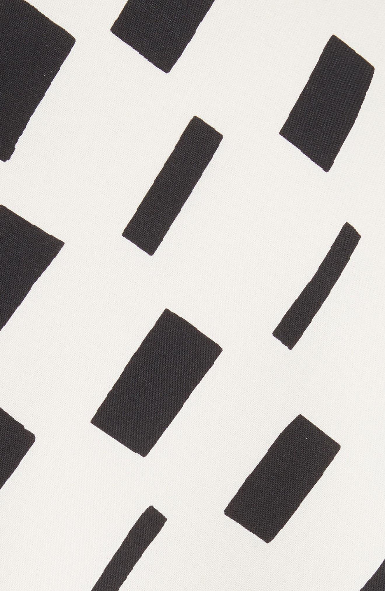 Interweave Geo Print Dress,                             Alternate thumbnail 6, color,                             Off White/ Black