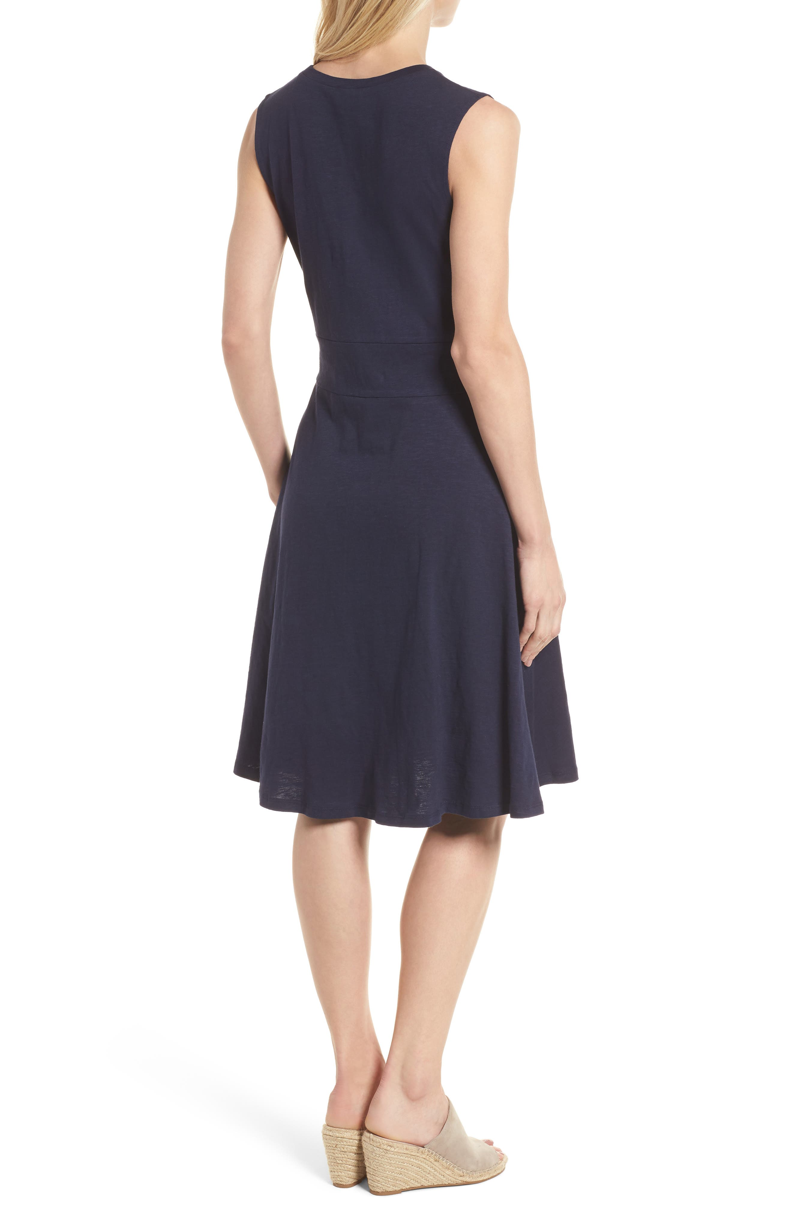 Twist Front Knit Dress,                             Alternate thumbnail 2, color,                             Navy Peacoat