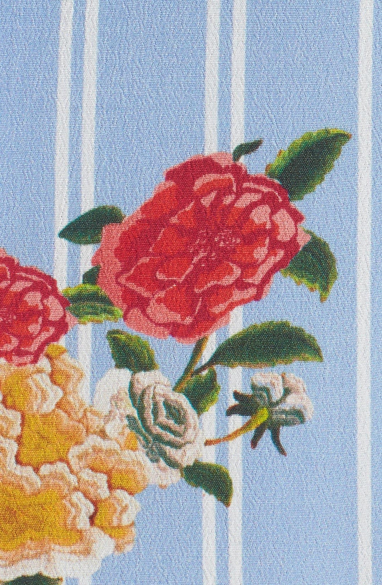 Iris Floral Print Jumpsuit,                             Alternate thumbnail 5, color,                             Azure Blue Multi