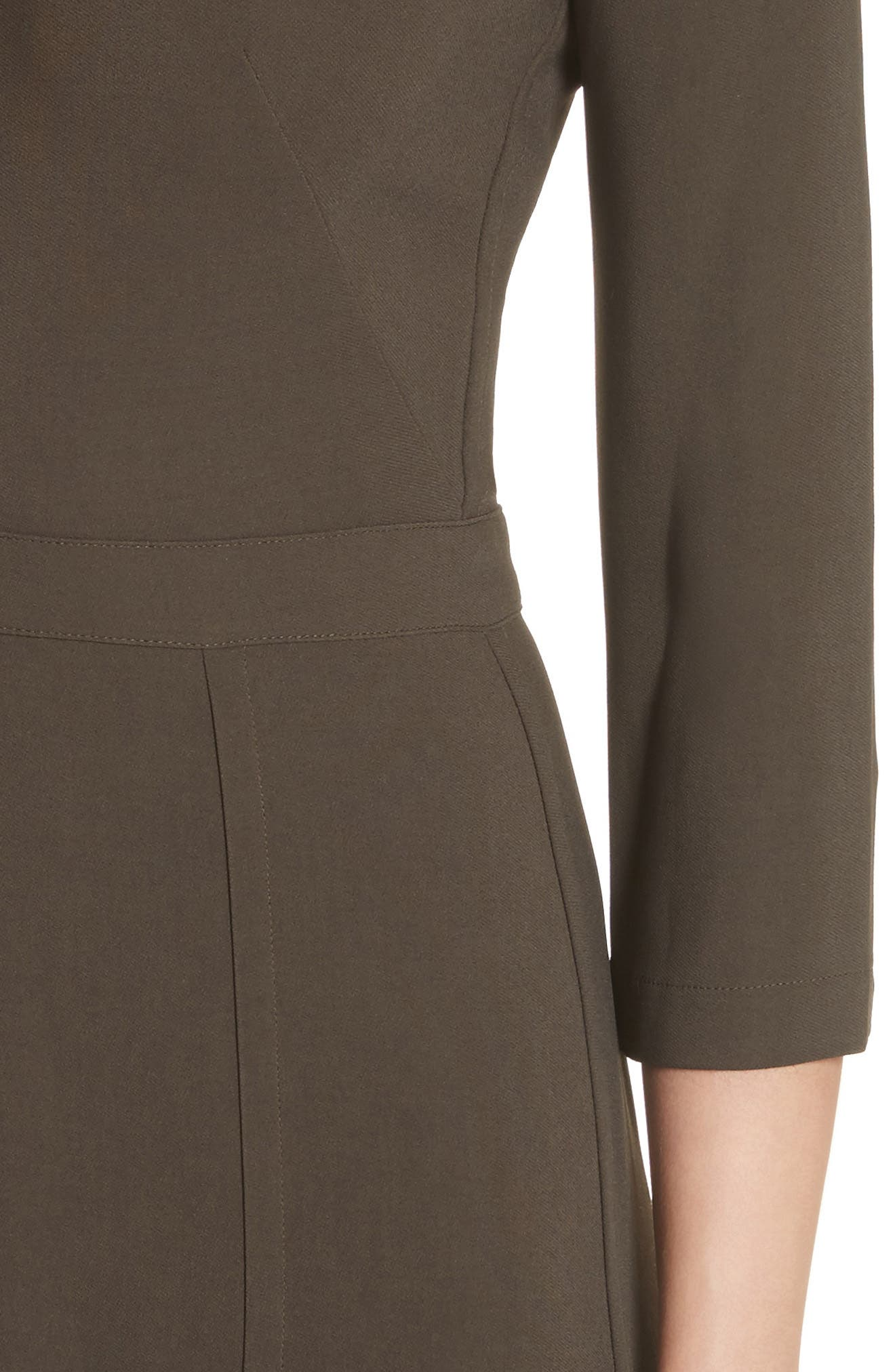 Paneled Cady Midi Dress,                             Alternate thumbnail 4, color,                             Khaki Green