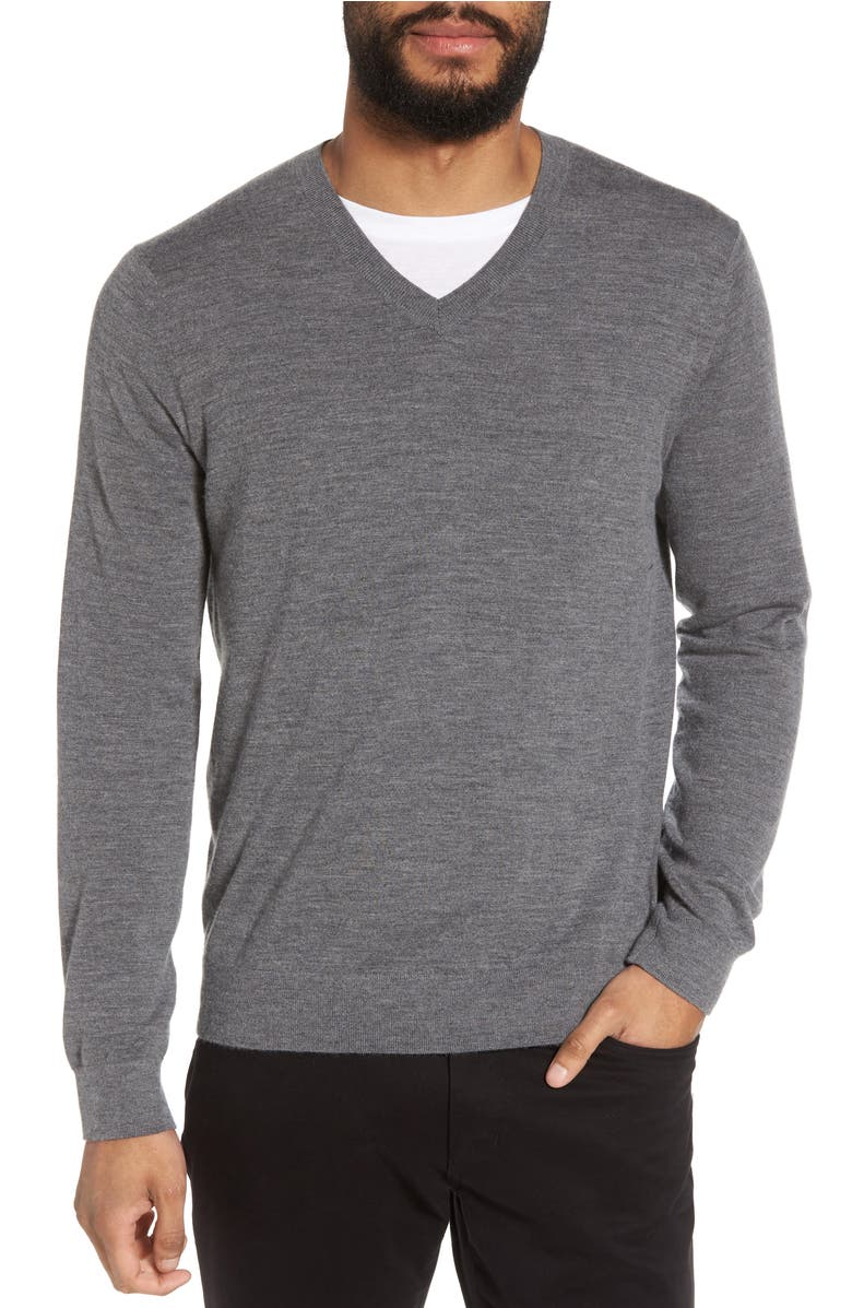 Slim Fit Cashmere V-Neck Sweater,                         Main,                         color, Cinder