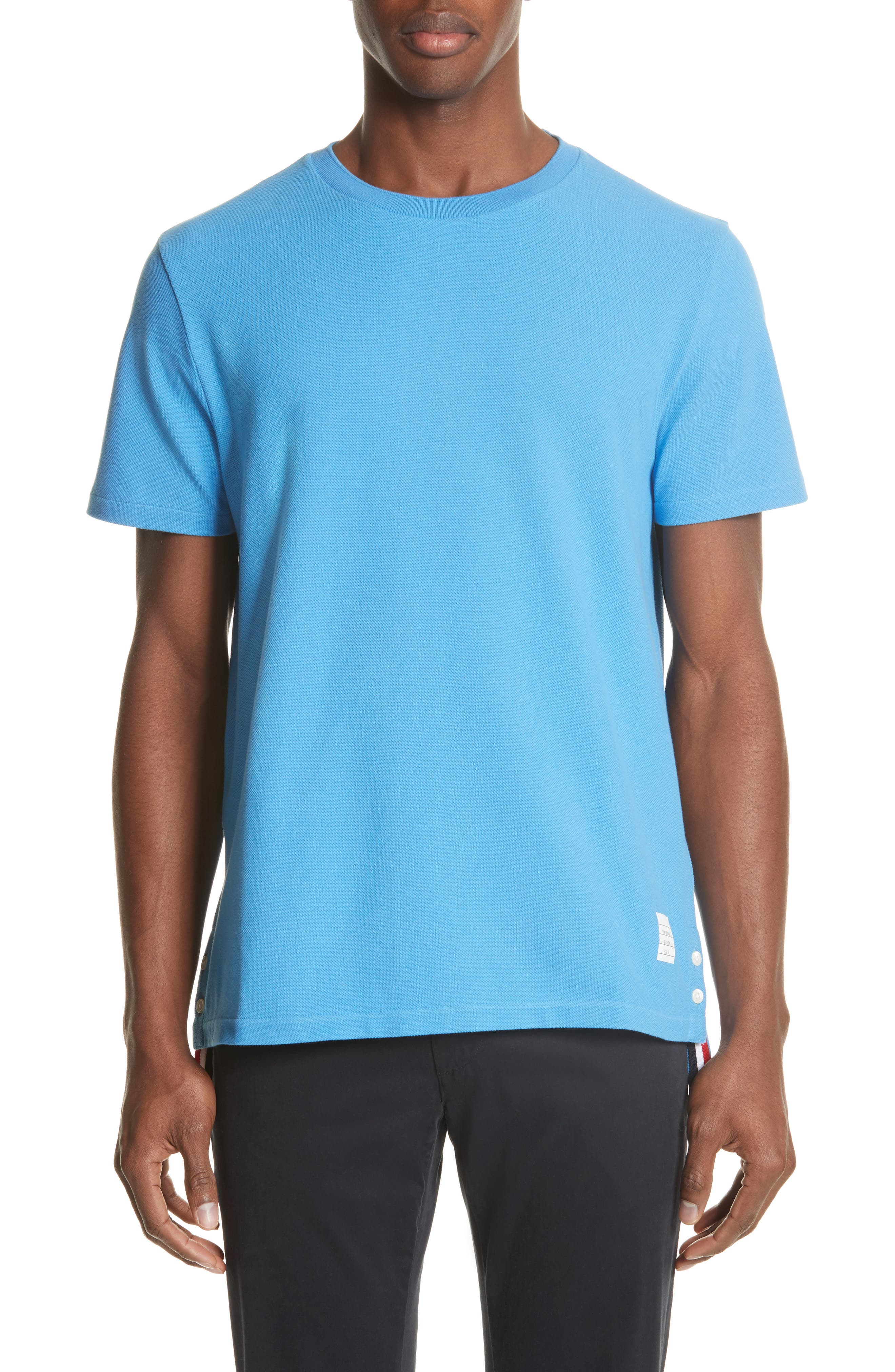 Stripe Crewneck T-Shirt,                             Main thumbnail 1, color,                             Light Blue