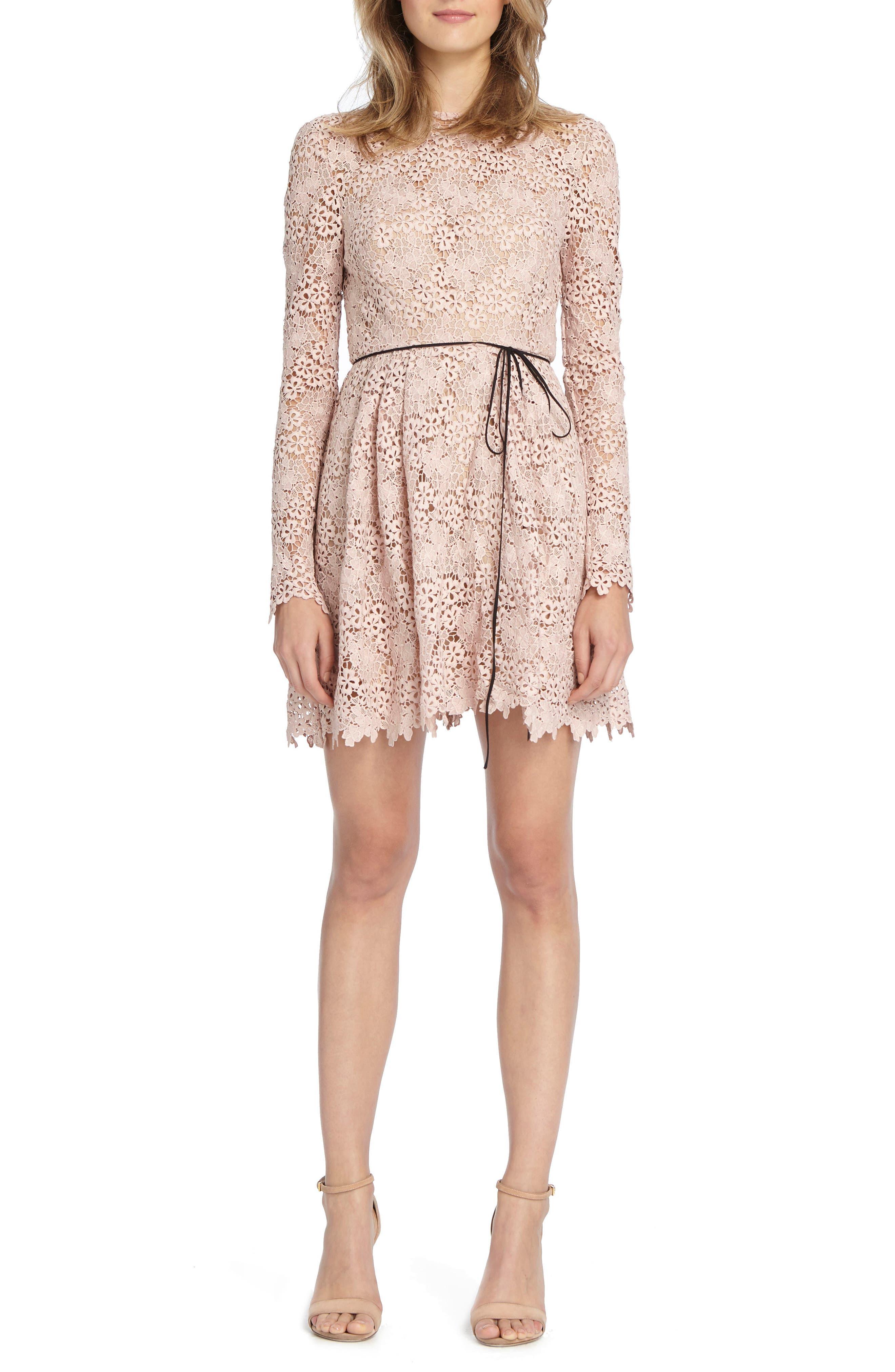 Lace Minidress,                         Main,                         color, Blush