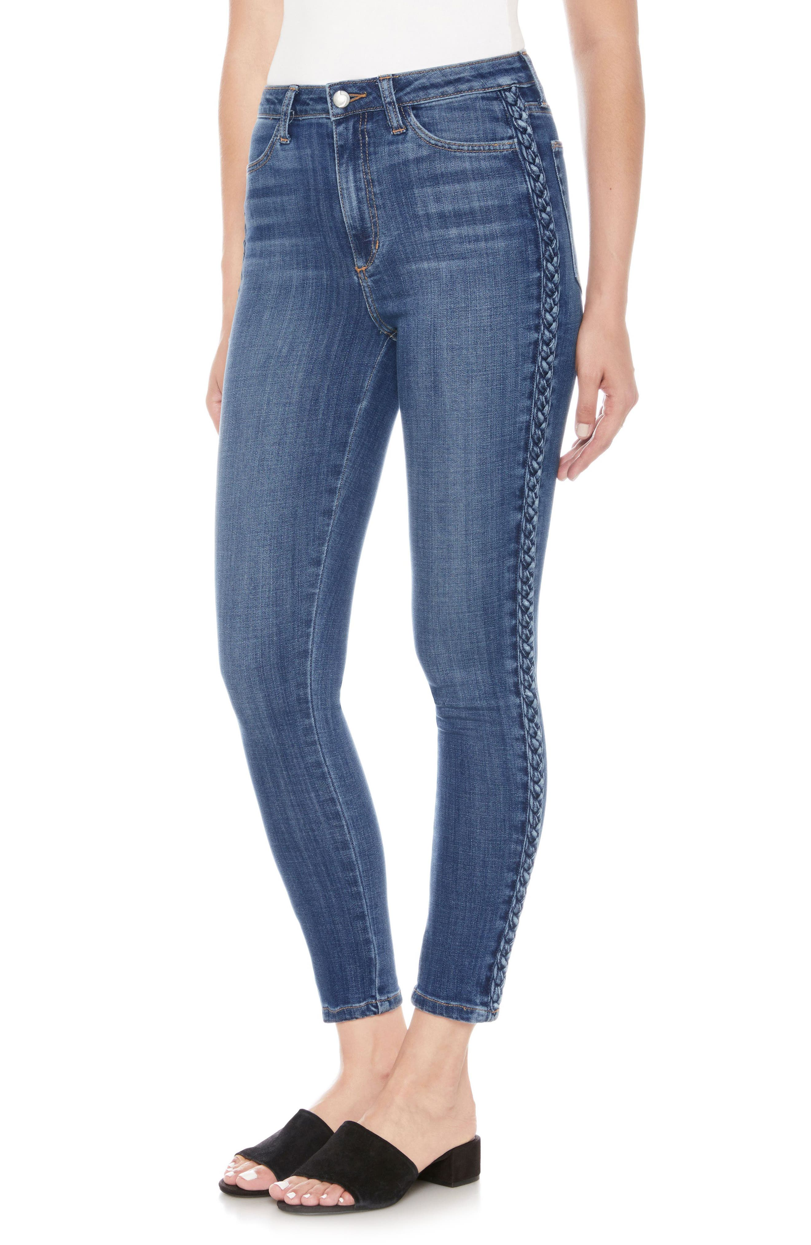 Charlie Braid High Waist Ankle Skinny Jeans,                         Main,                         color, Pandora