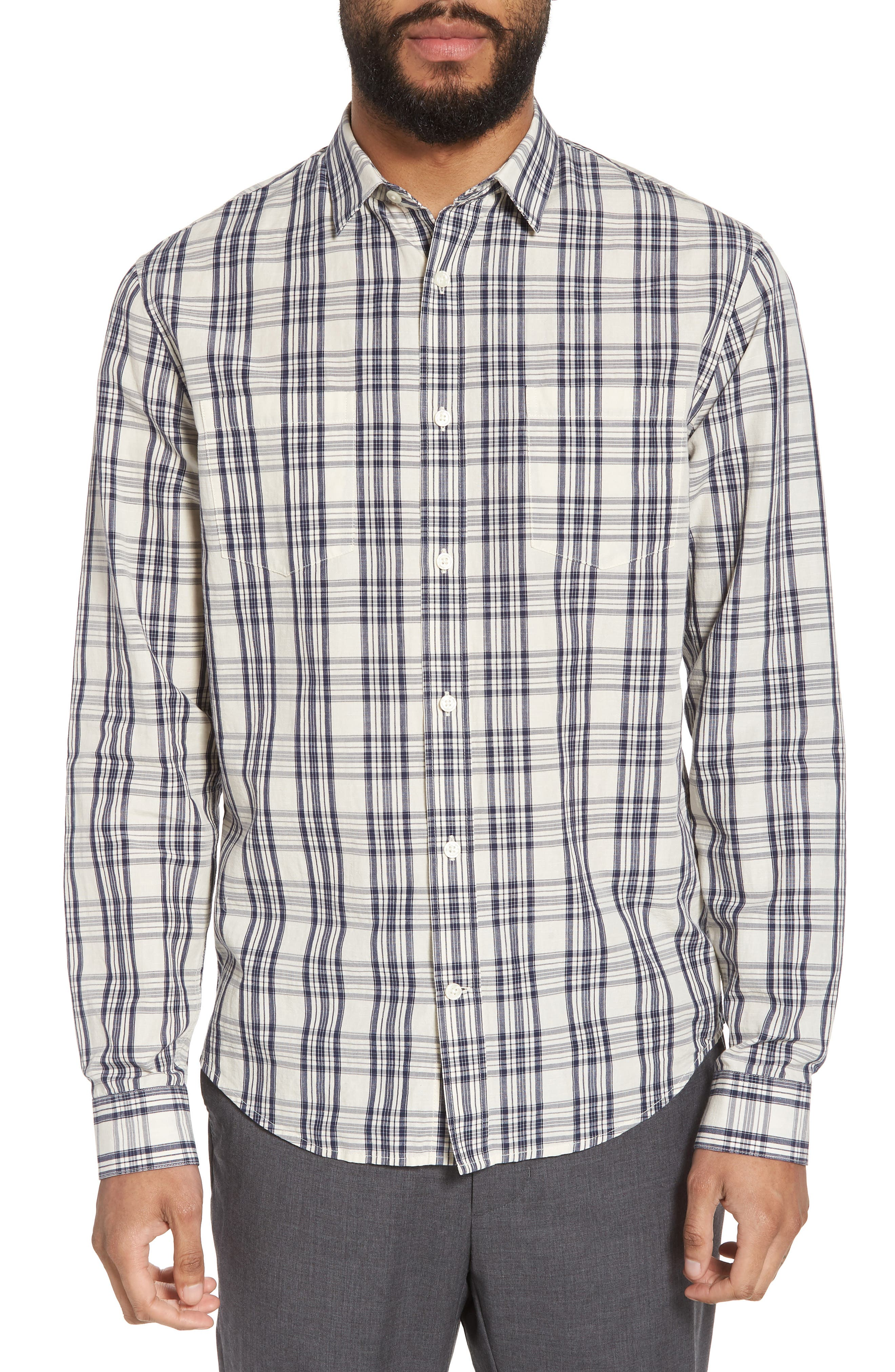Slim Fit Plaid Sport Shirt,                         Main,                         color, Charcoal