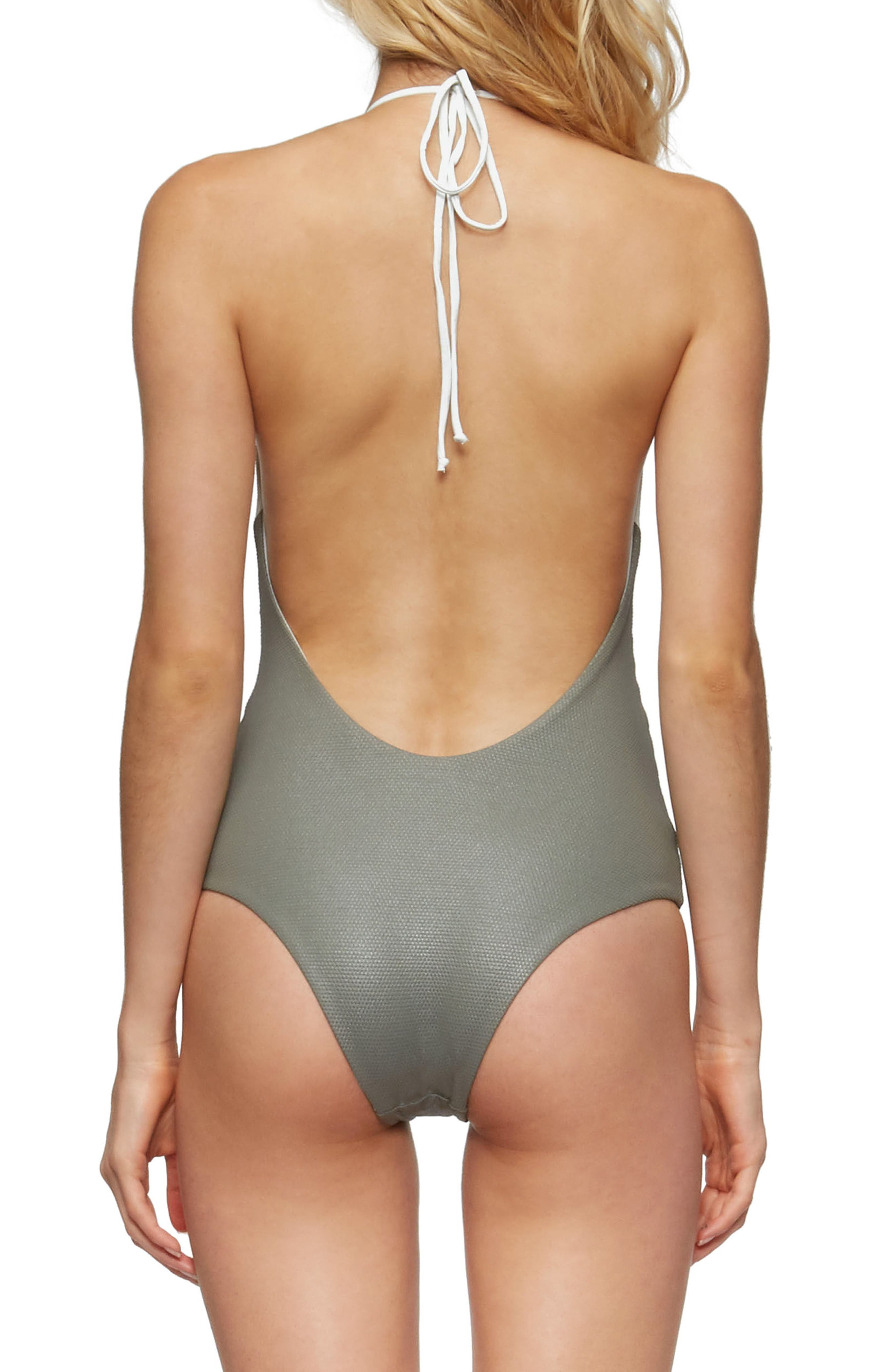 Chase Glossy One-Piece Swimsuit,                             Alternate thumbnail 2, color,                             Cove Grey