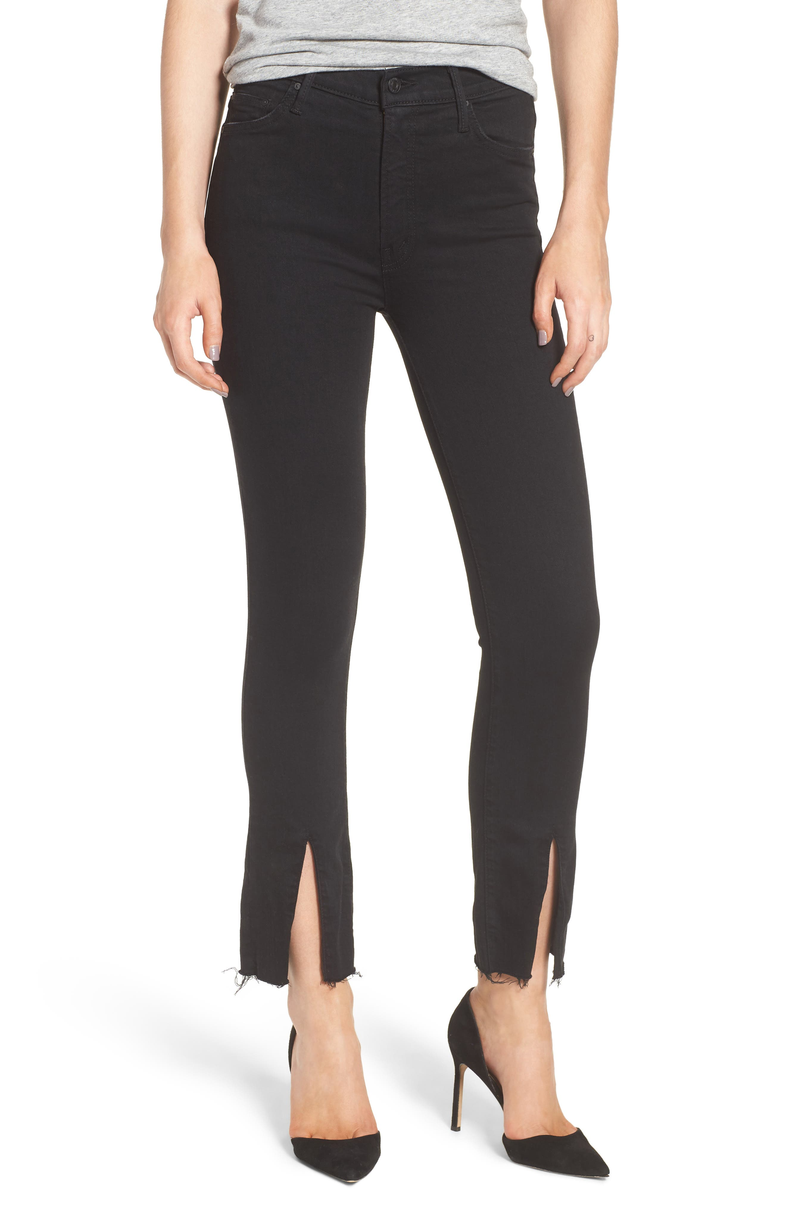 MOTHER The Insider High Waist Slit Ankle Bootcut Jeans (Not Guilty)