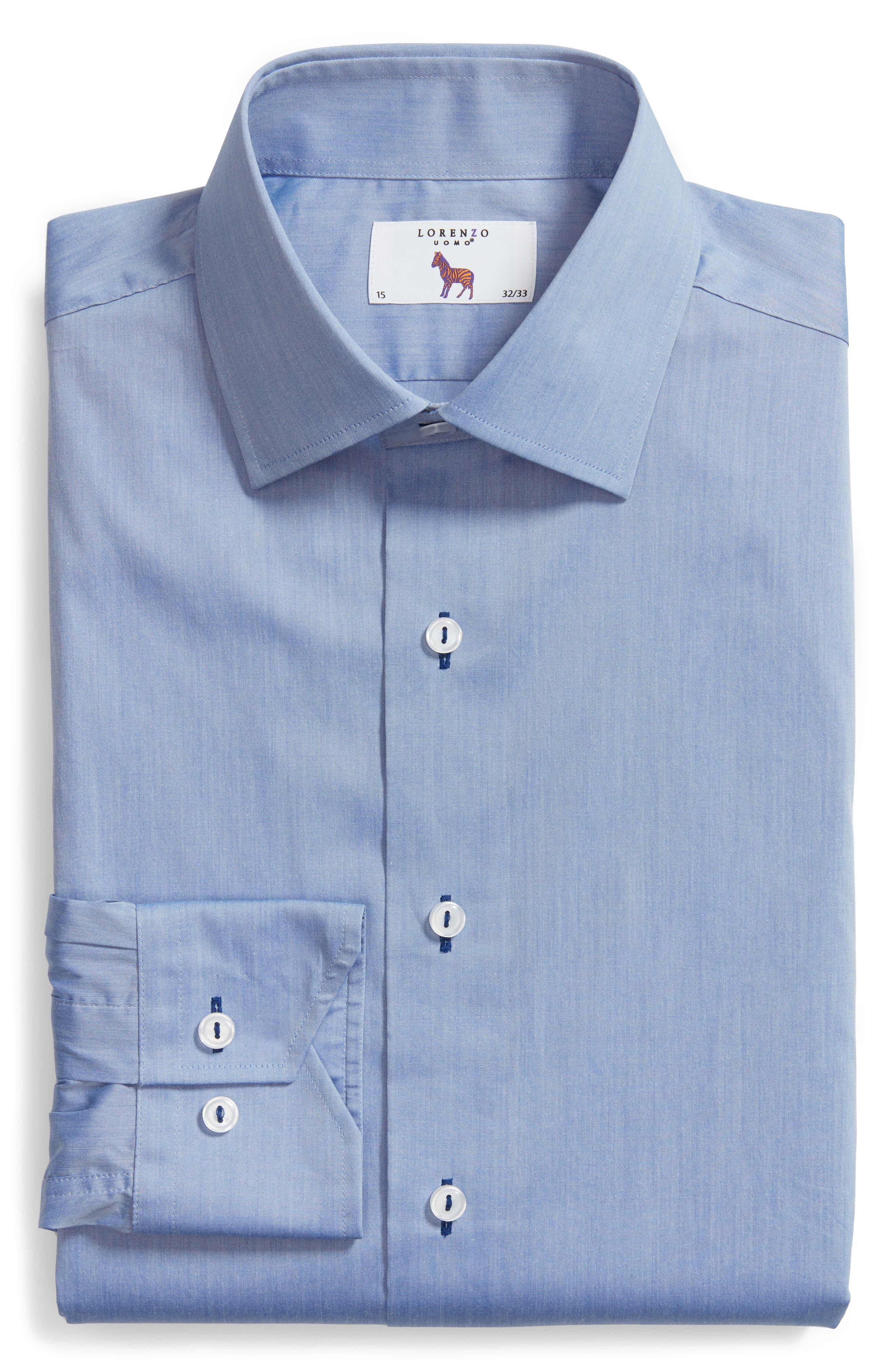 Trim Fit Dress Shirt,                             Alternate thumbnail 6, color,                             Blue