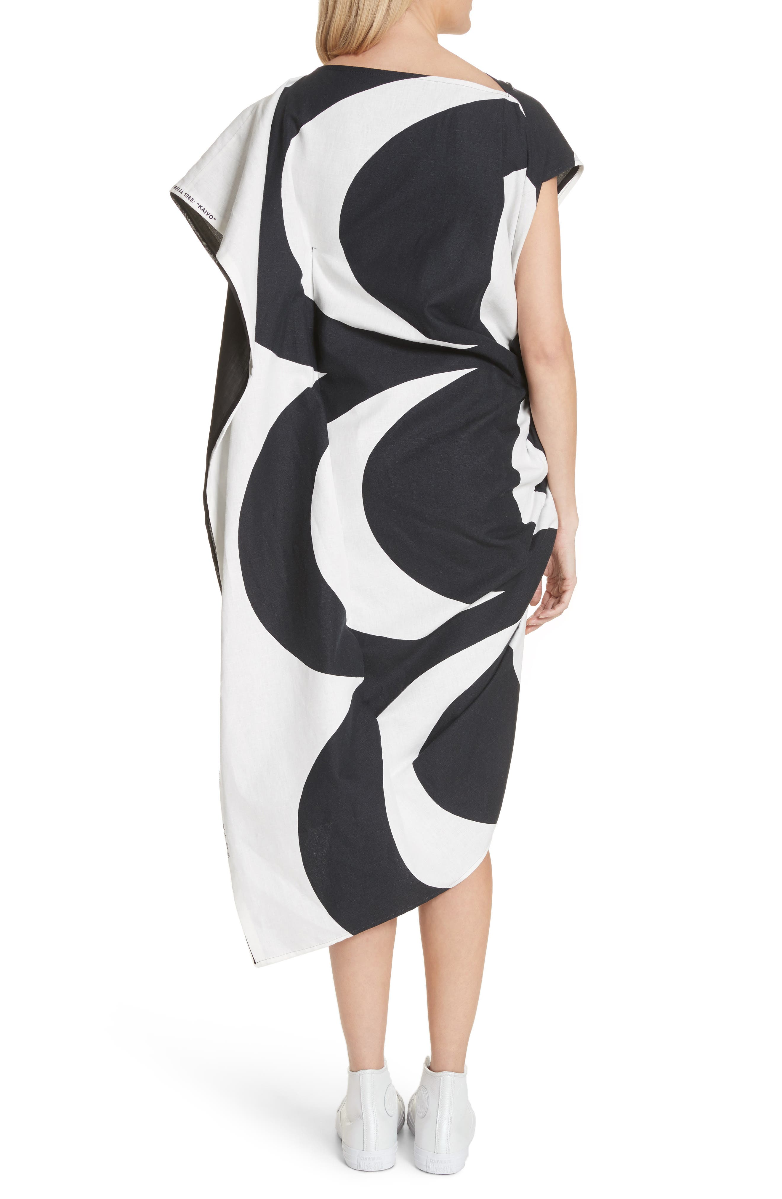 Circular Print Asymmetrical Draped Dress,                             Alternate thumbnail 2, color,                             Wht/ Blk X Blk