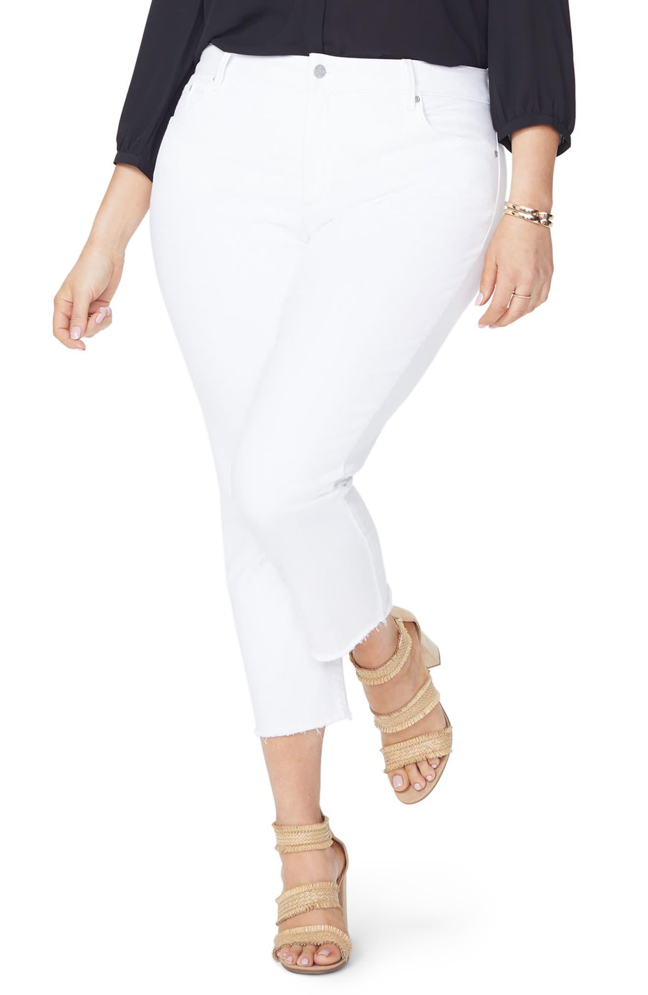 Sheri Fray Hem Stretch Slim Ankle Jeans,                             Main thumbnail 1, color,                             Optic White