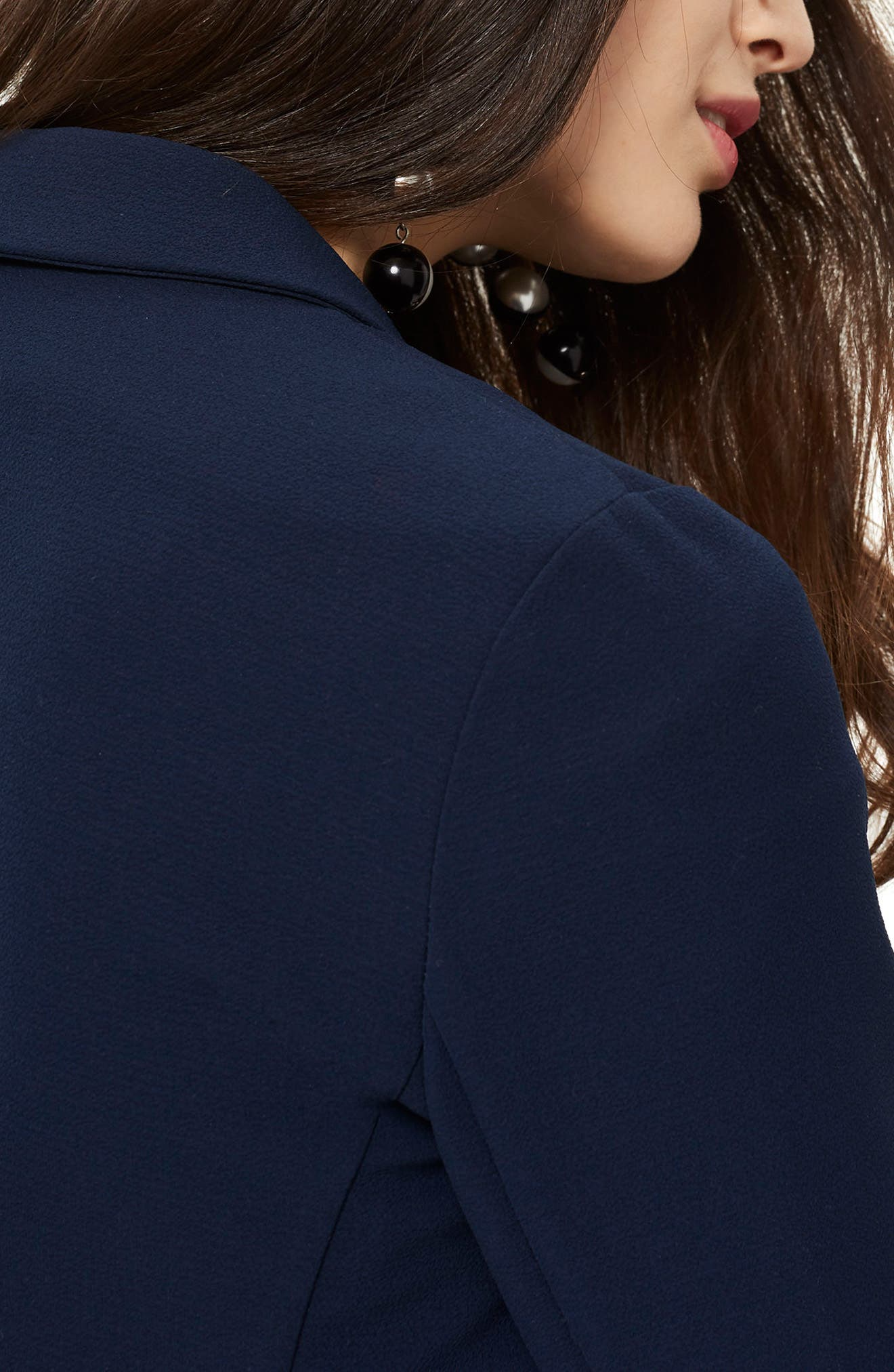 Bonded Bubble Crepe Jacket,                             Alternate thumbnail 3, color,                             Navy Blue