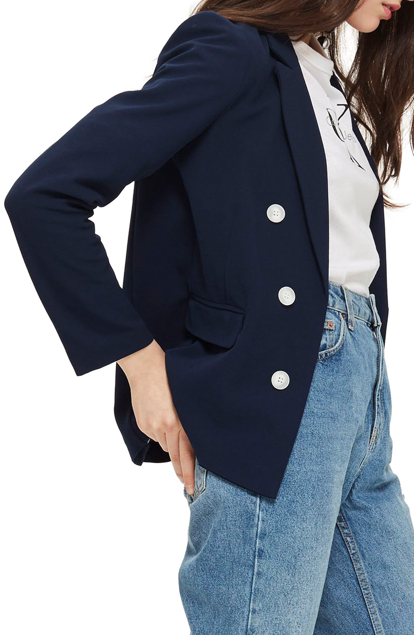 Bonded Bubble Crepe Jacket,                             Alternate thumbnail 4, color,                             Navy Blue