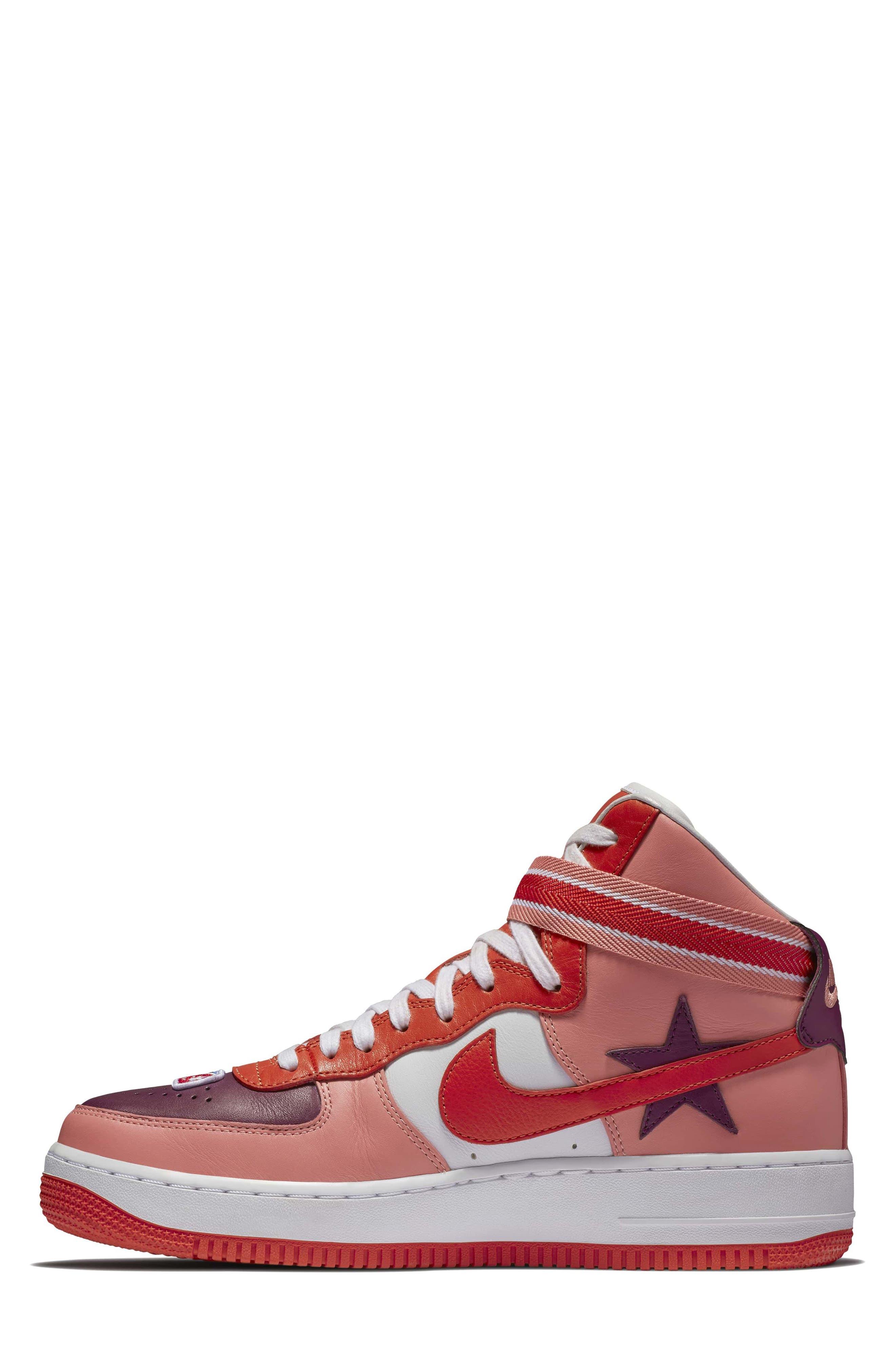 Air Force 1 High RT Sneaker,                             Alternate thumbnail 3, color,                             Coral/ Bordeax/ Orange/ Black
