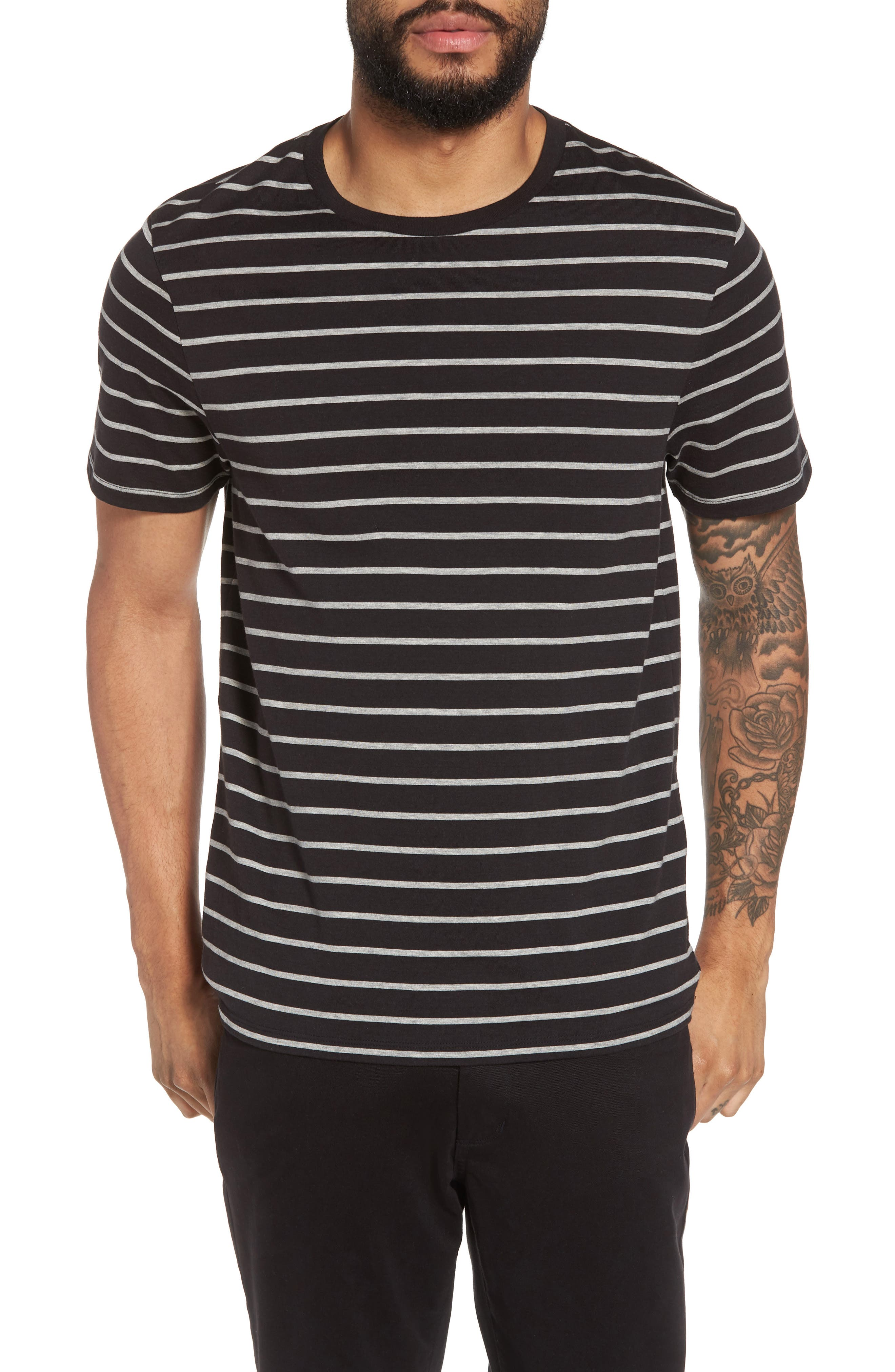Slim Fit Heathered Stripe T-Shirt,                             Main thumbnail 1, color,                             Black/ Heather Steel