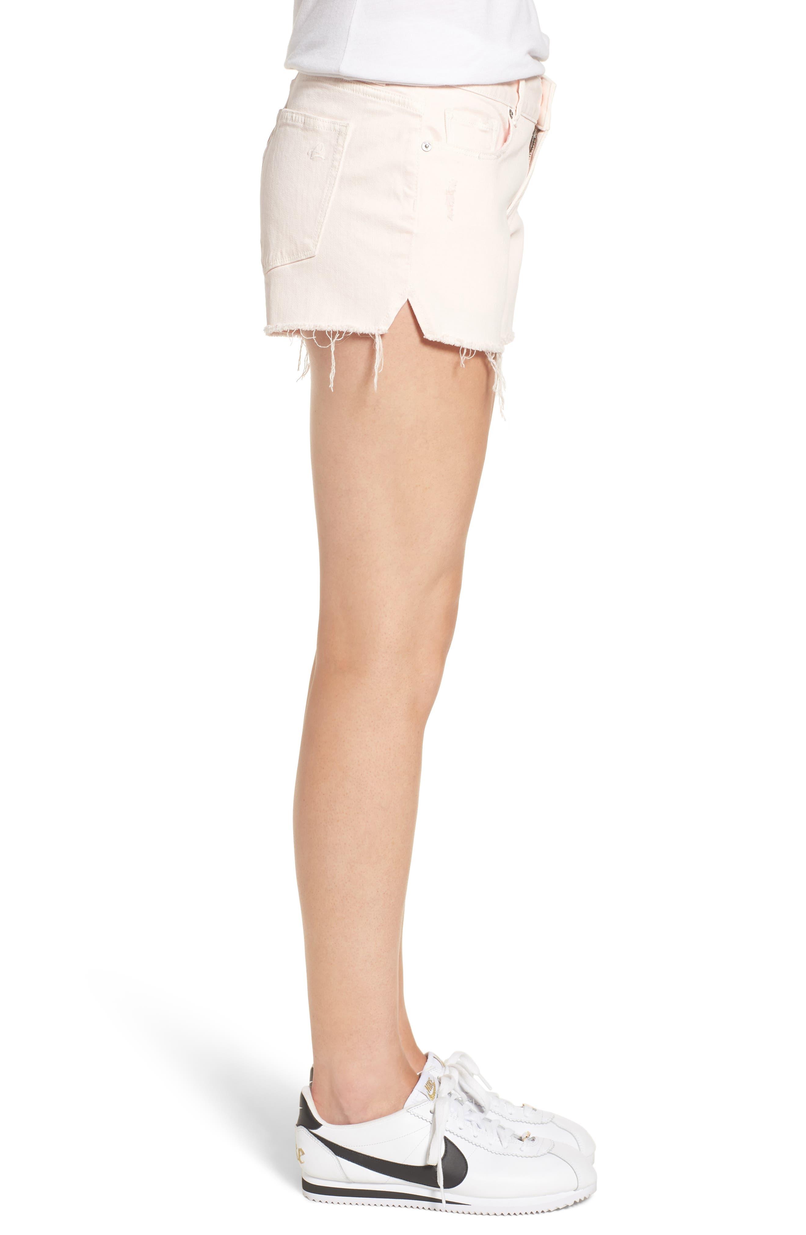 Renee Notch Raw Hem Denim Shorts,                             Alternate thumbnail 3, color,                             Blush Pink