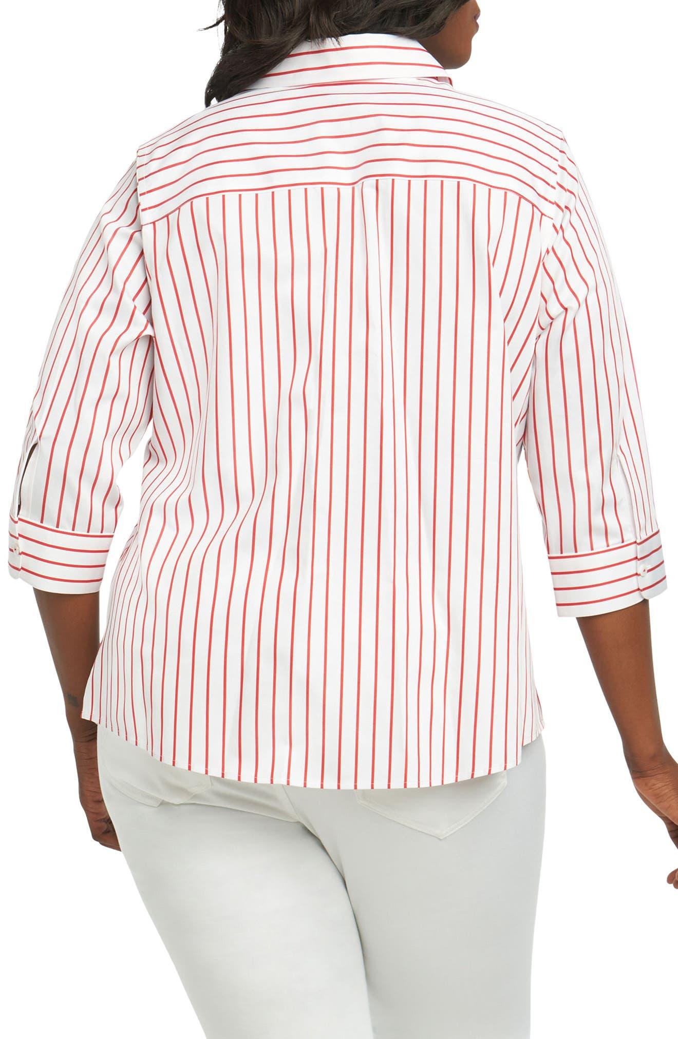 Alternate Image 2  - Foxcroft Clio Sateen Stripe Shirt (Plus Size)