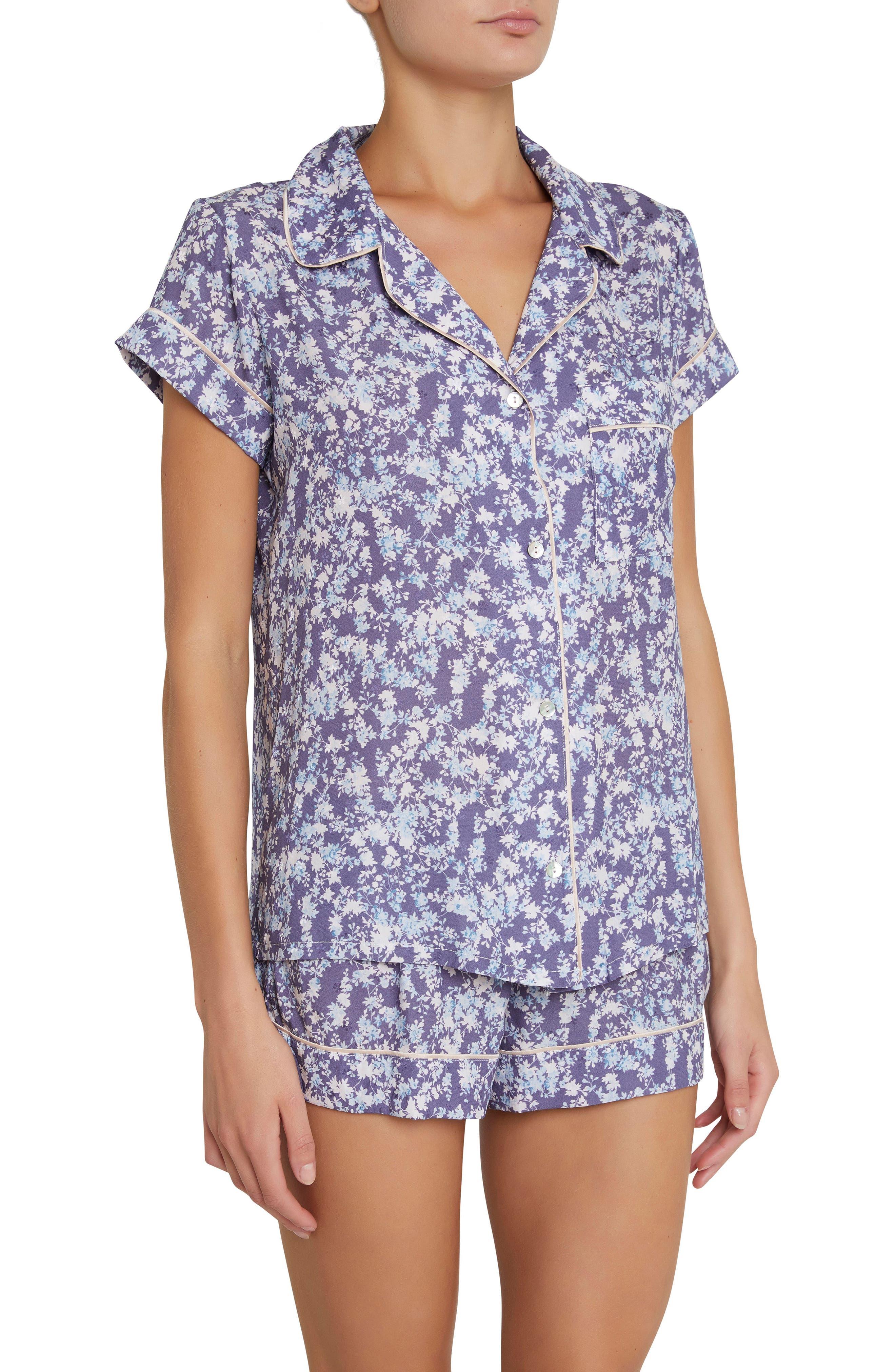 Lily Short Pajamas,                             Main thumbnail 1, color,                             Blue Floral Print