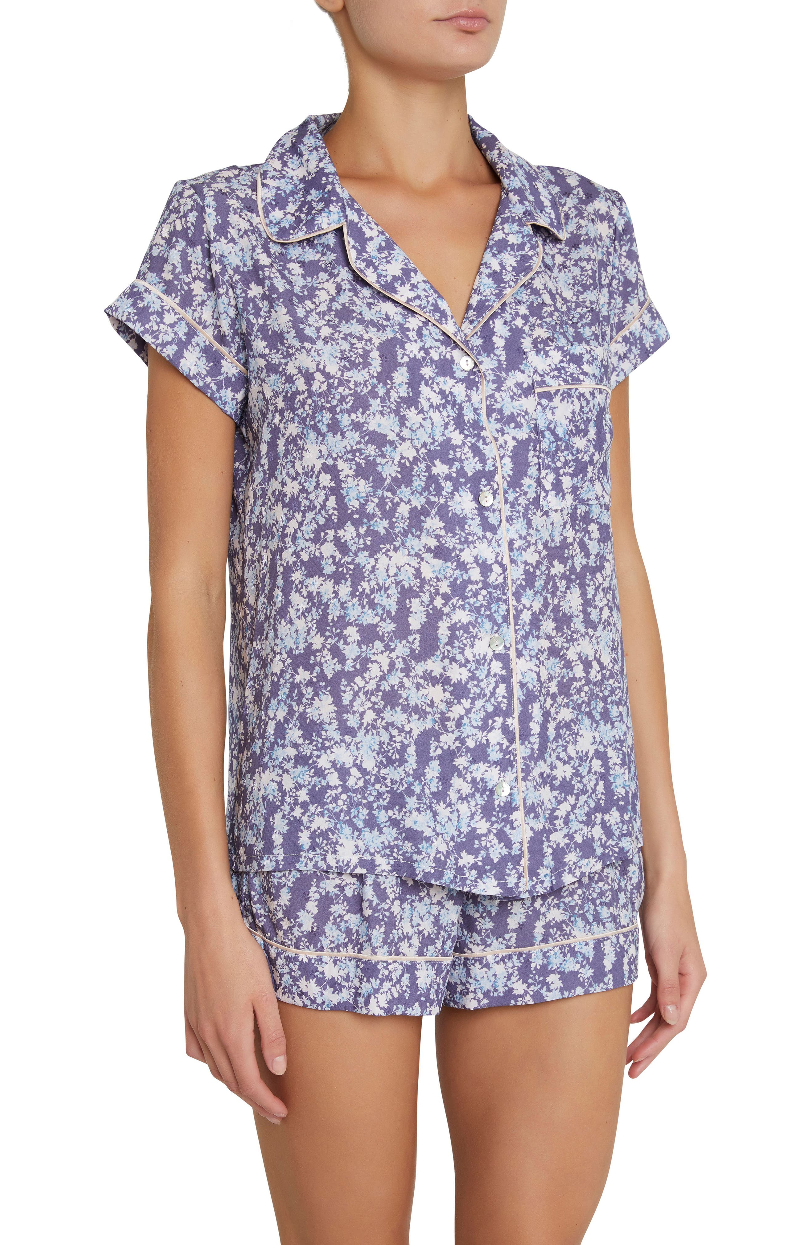 Lily Short Pajamas,                         Main,                         color, Blue Floral Print