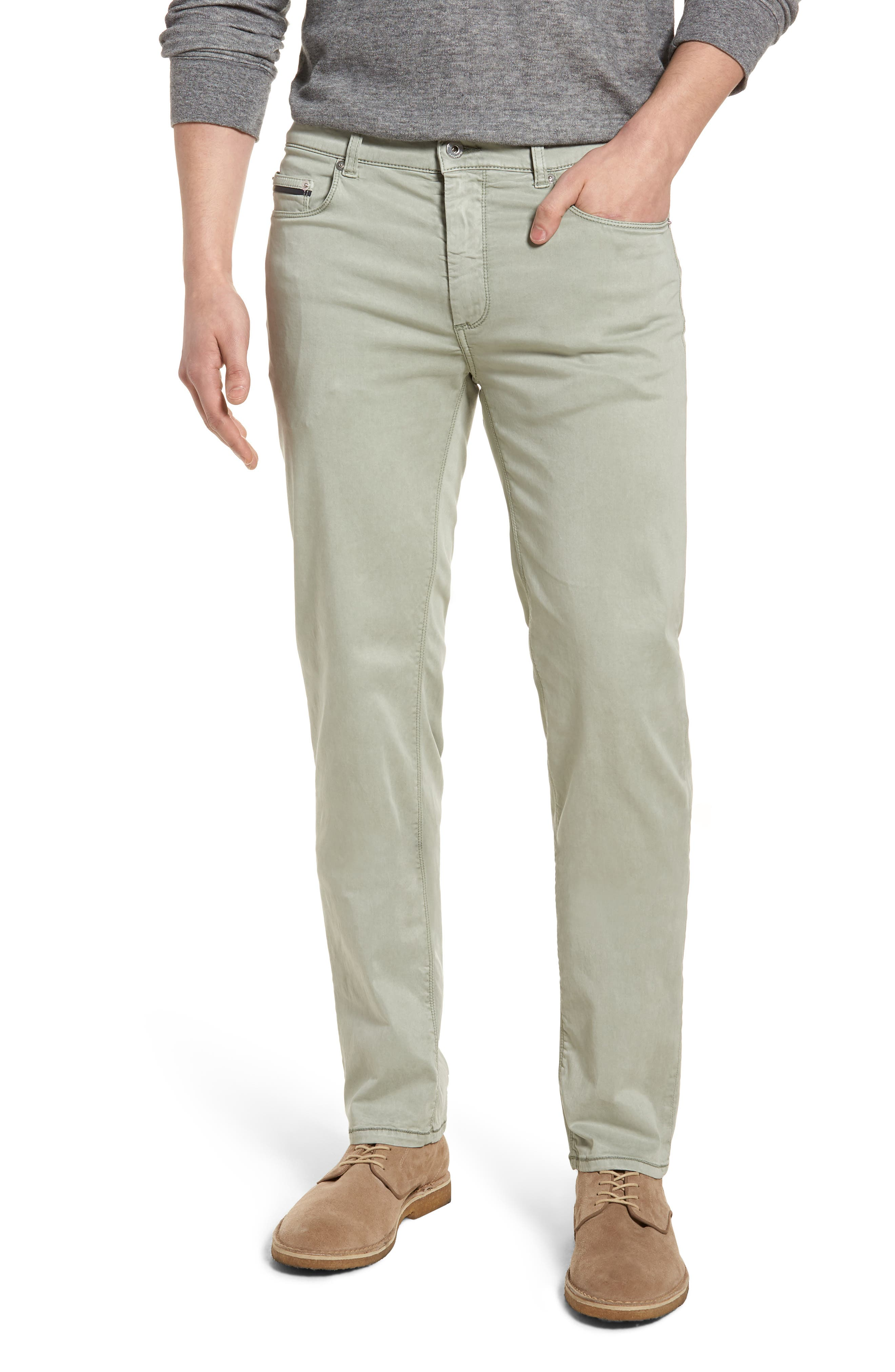 Slim Fit Washed Five-Pocket Pants,                         Main,                         color, Khaki
