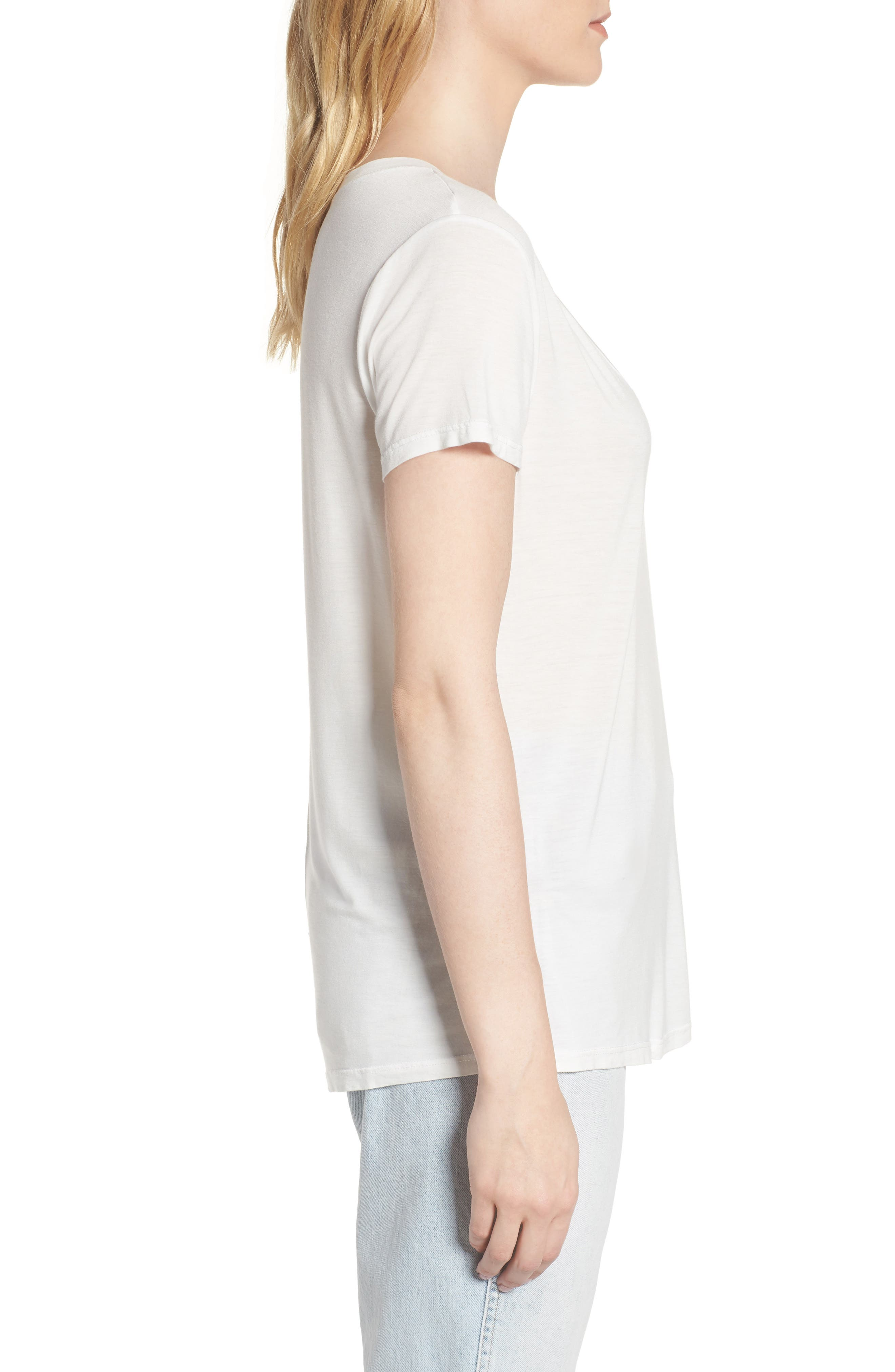 Deep U-Neck Tee,                             Alternate thumbnail 3, color,                             White