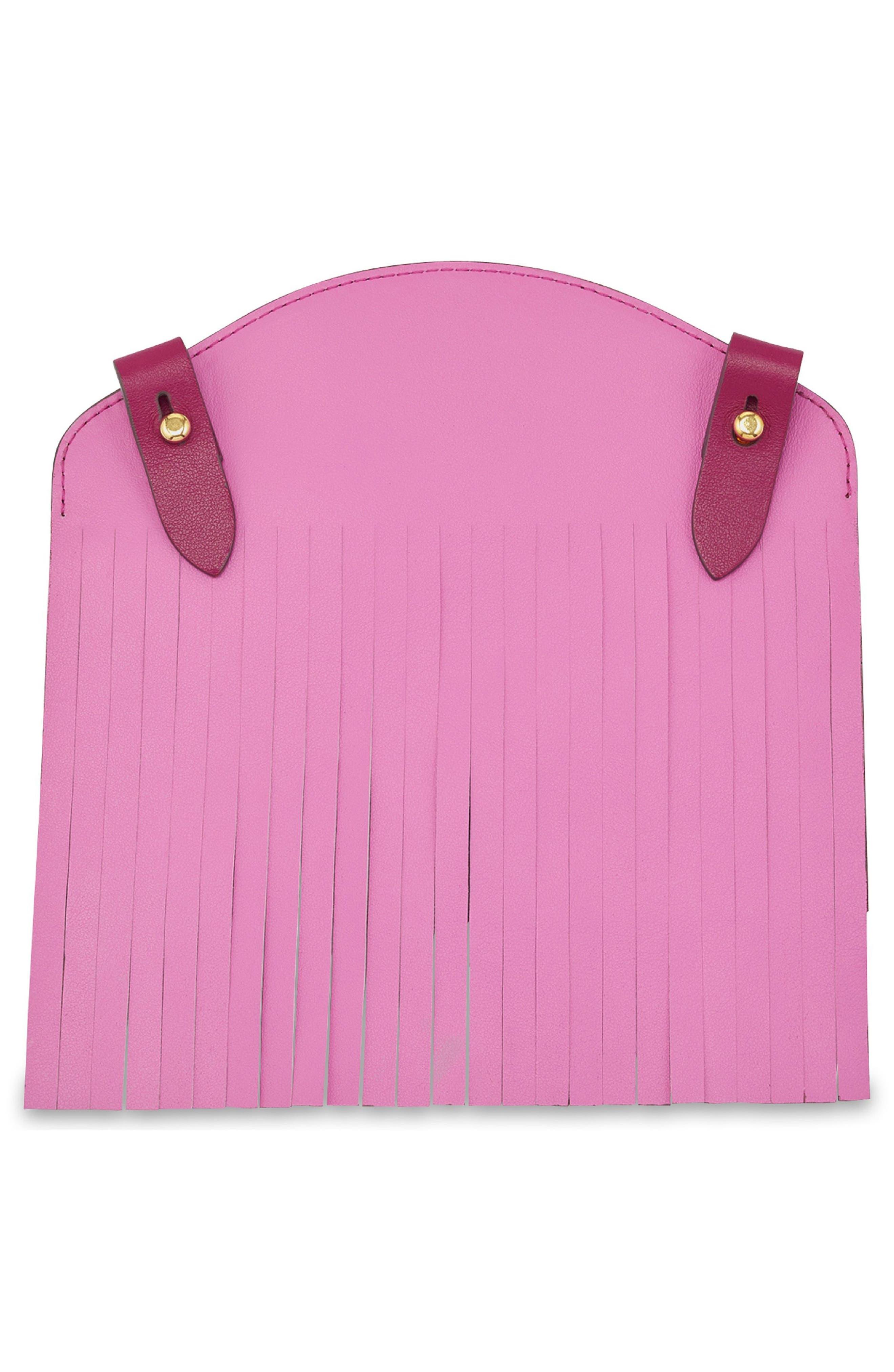 Build a Bag Fringe Leather Panels,                             Alternate thumbnail 2, color,                             Raspberry