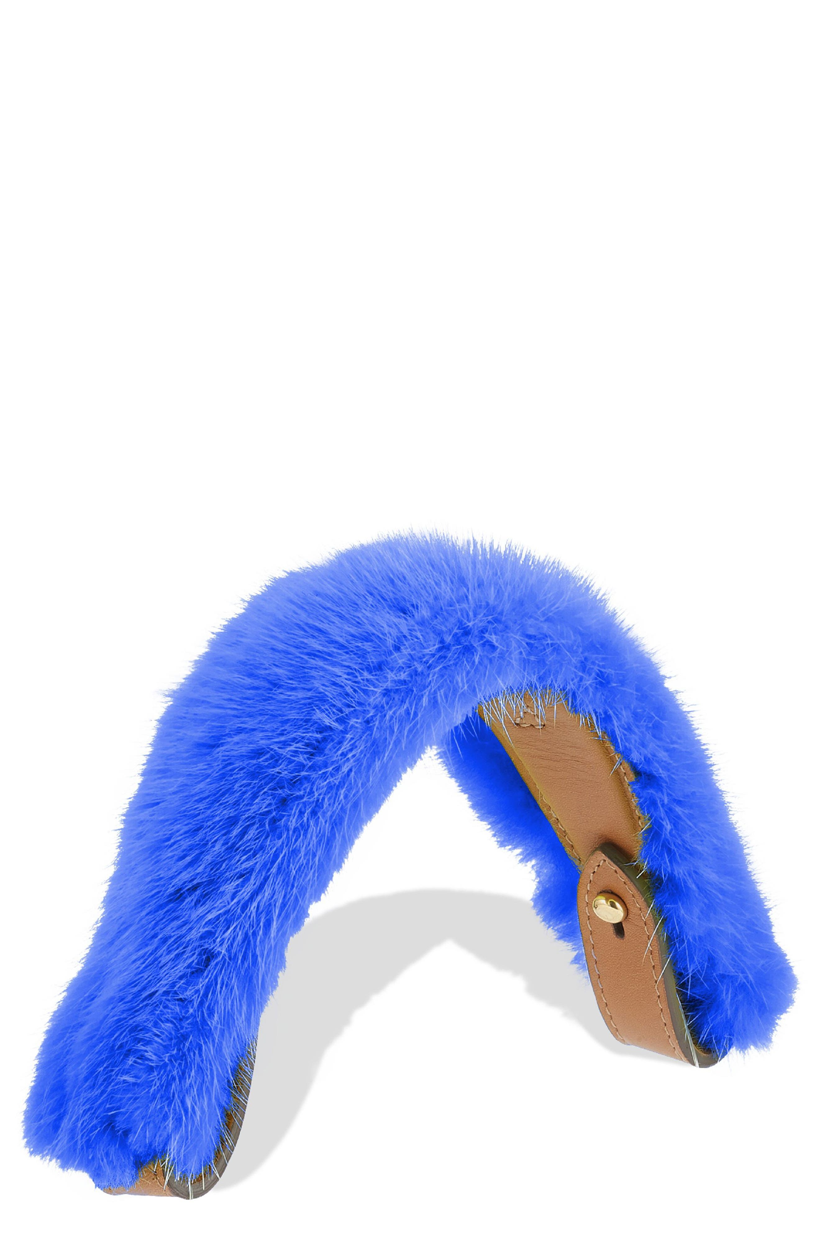 Build a Bag Genuine Shearling & Leather Bag Handle,                             Main thumbnail 1, color,                             Electric Blue