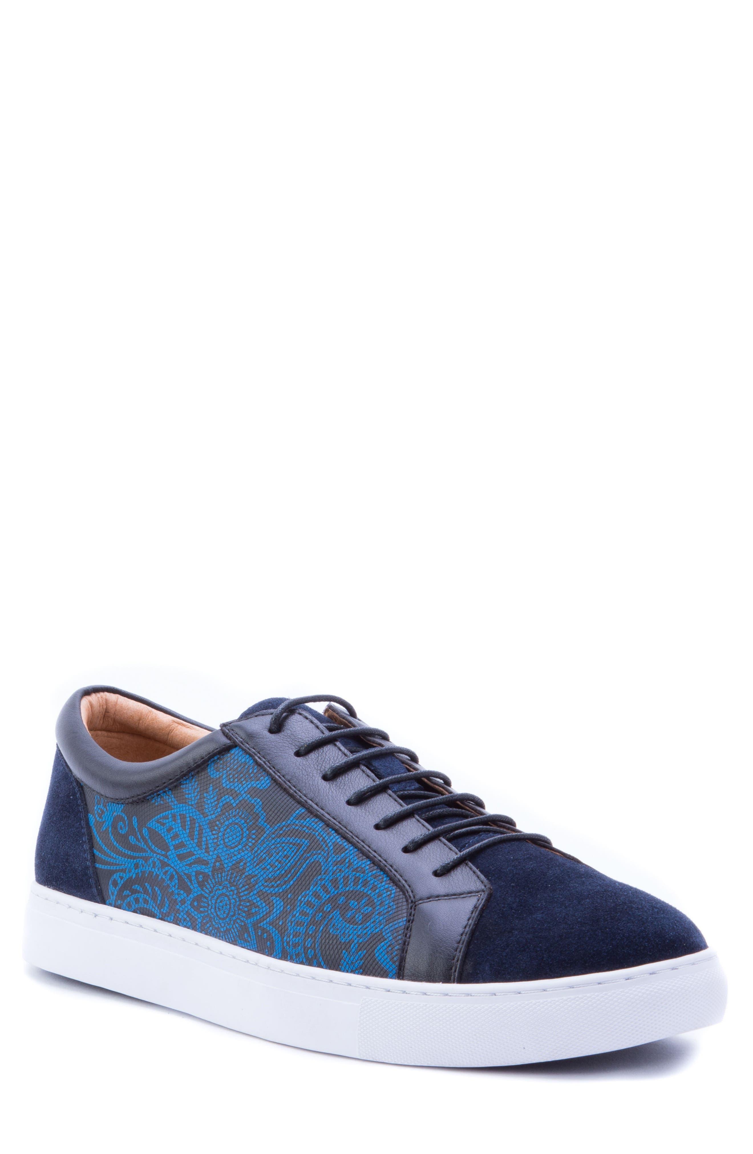 Rubio Floral Sneaker,                         Main,                         color, Navy Suede