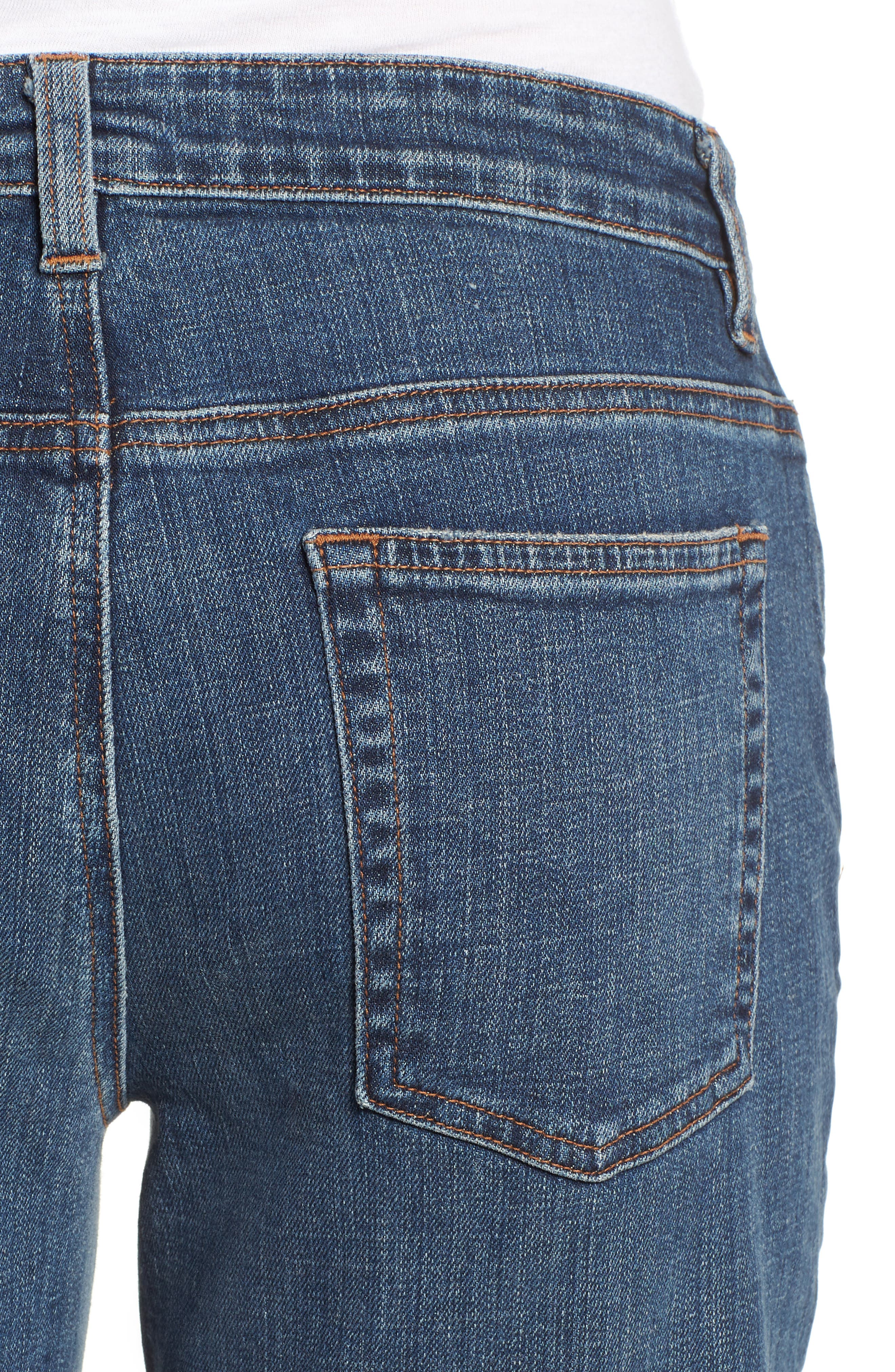 Tapered Stretch Organic Cotton Crop Jeans,                             Alternate thumbnail 4, color,                             Abraded Aged Indigo