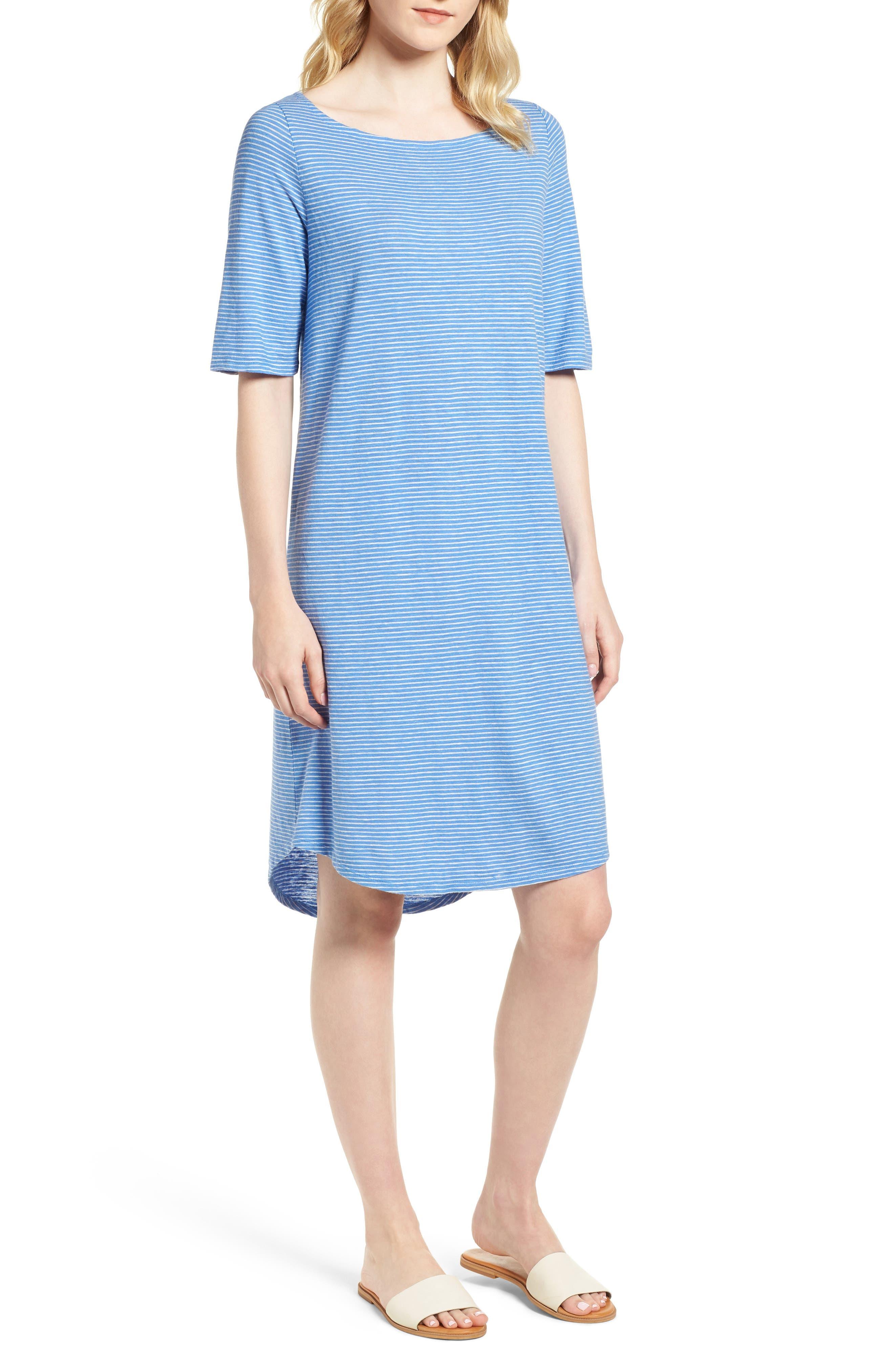 Hemp & Organic Cotton Jersey Dress,                             Main thumbnail 1, color,                             Bluebell