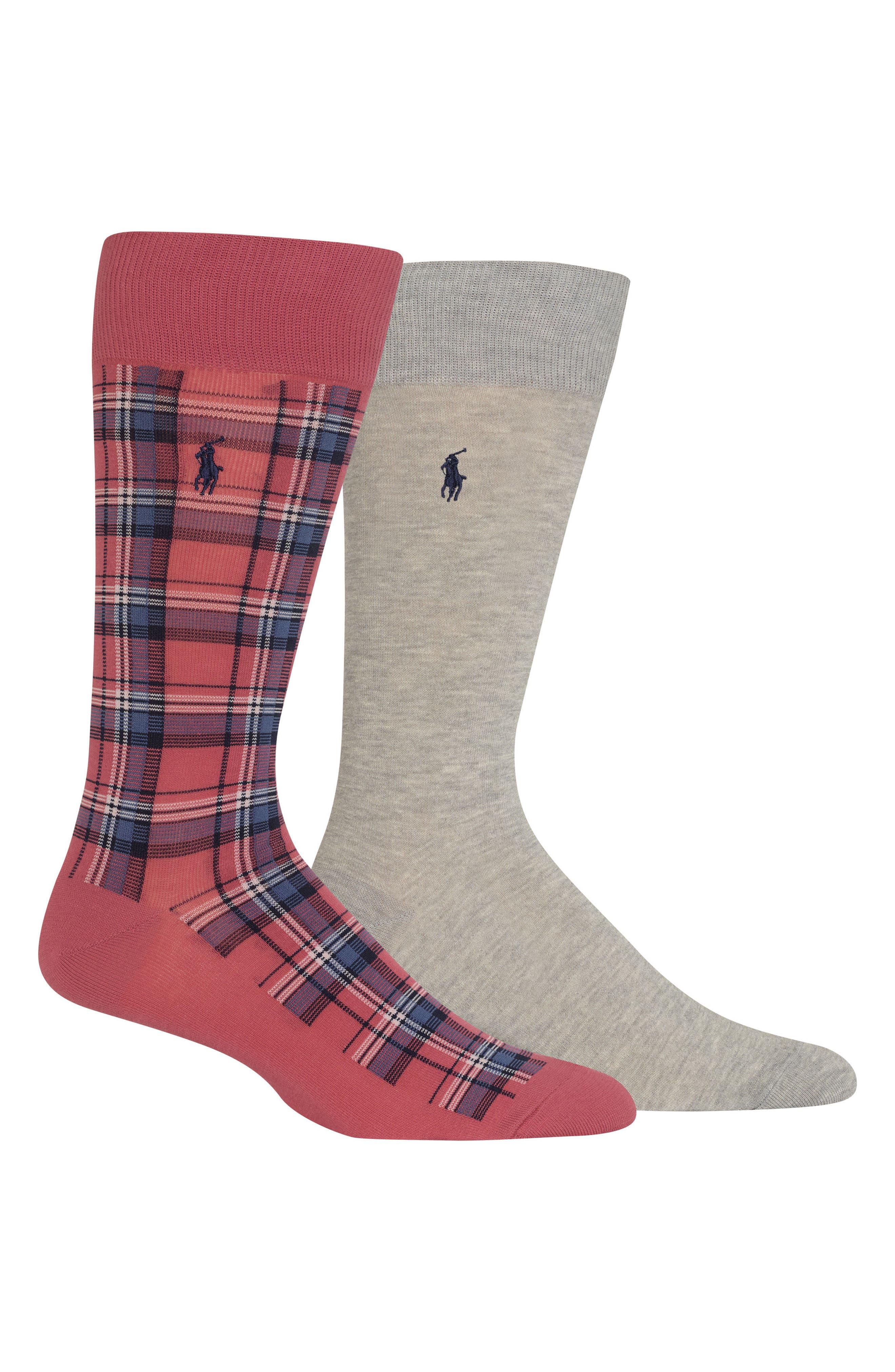 Ralph Lauren 2-Pack Socks,                             Main thumbnail 1, color,                             Red/ Grey