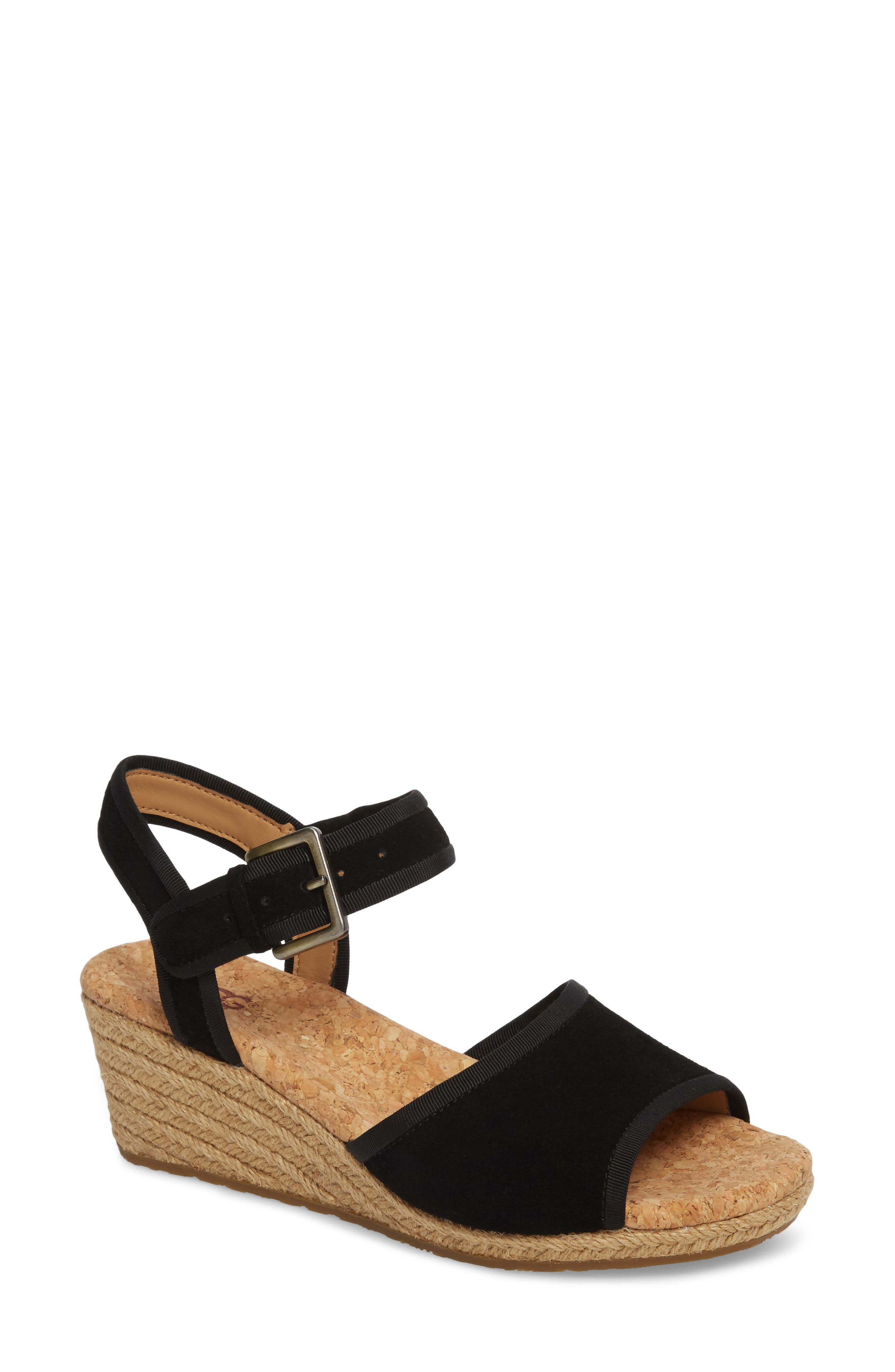 Maybell Wedge Sandal,                             Main thumbnail 1, color,                             Black Suede