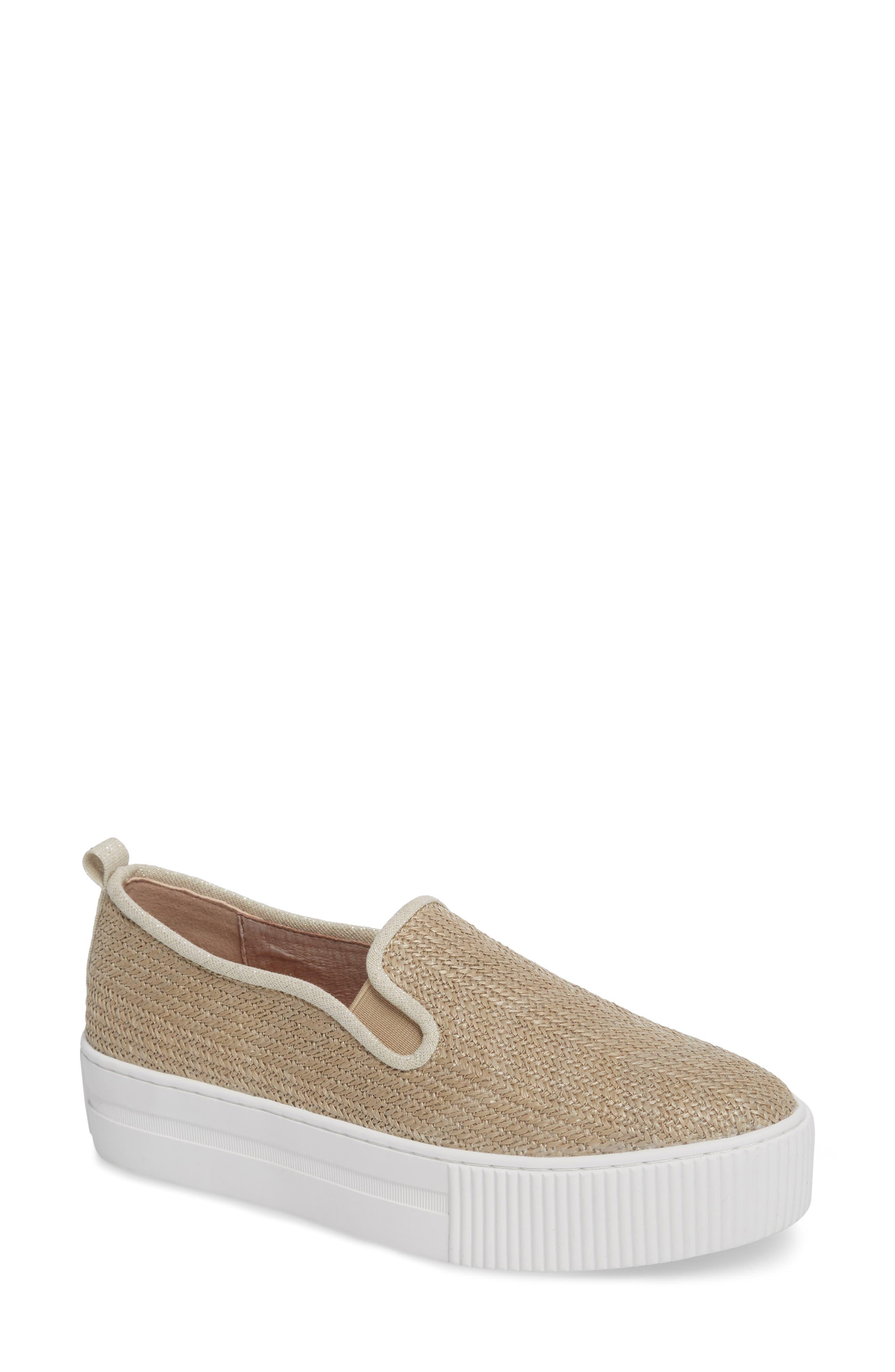 Baylee Platform Slip-On Sneaker,                         Main,                         color, Natural Raffia