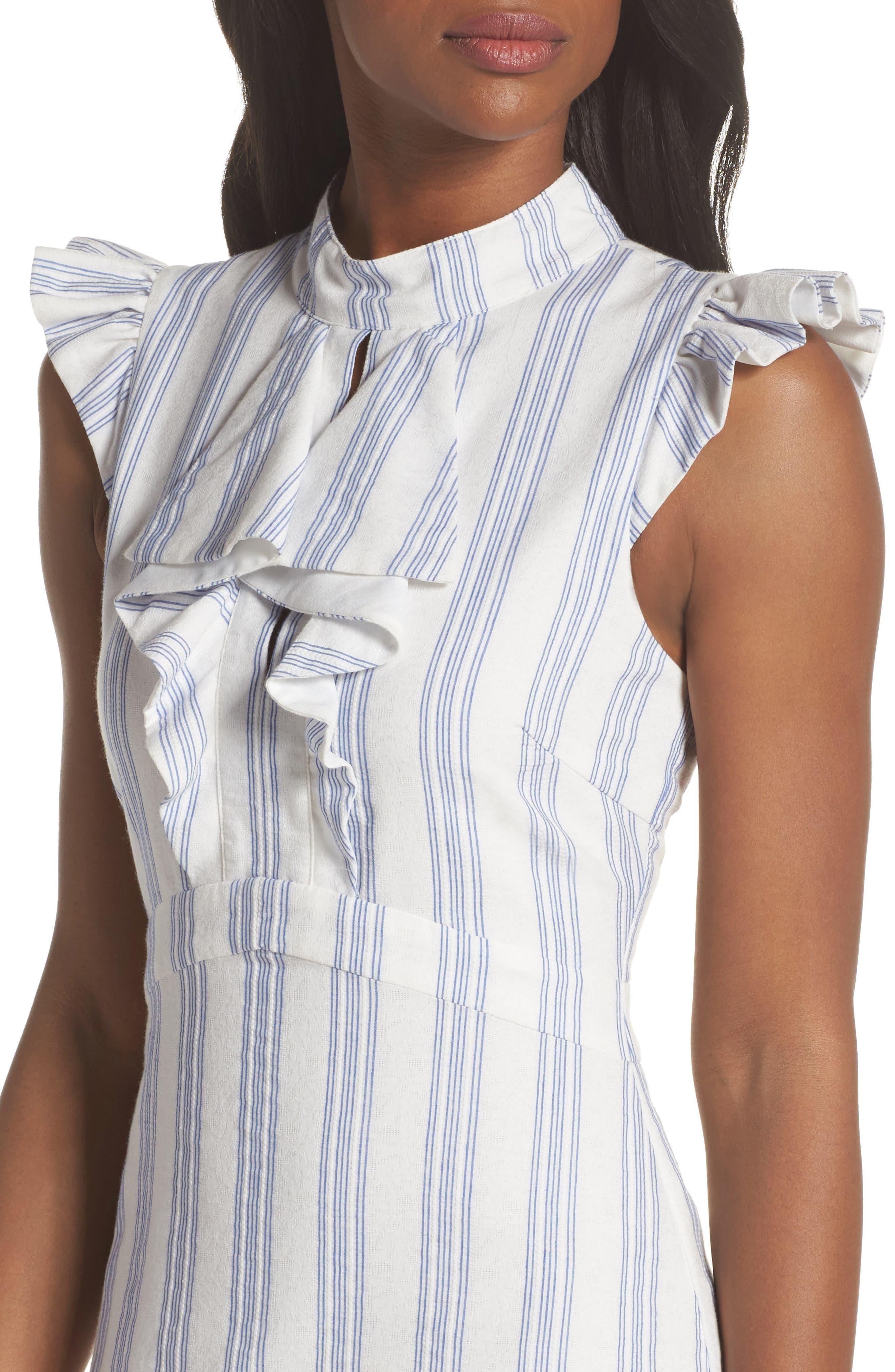 Stripe Ruffle Sheath Dress,                             Alternate thumbnail 4, color,                             White/ Blue