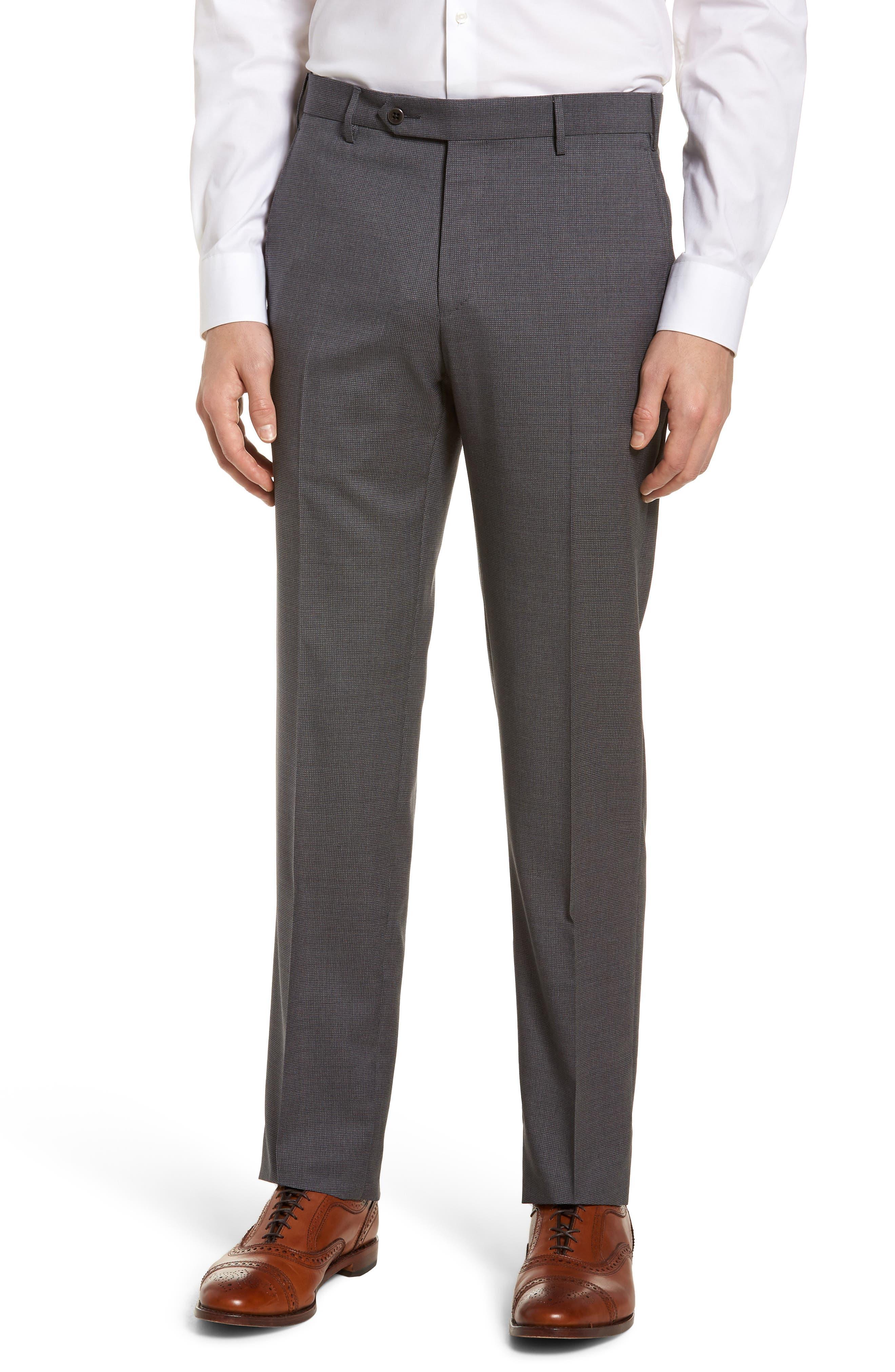 Parker Flat Front Pindot Wool Trousers,                             Main thumbnail 1, color,                             Grey