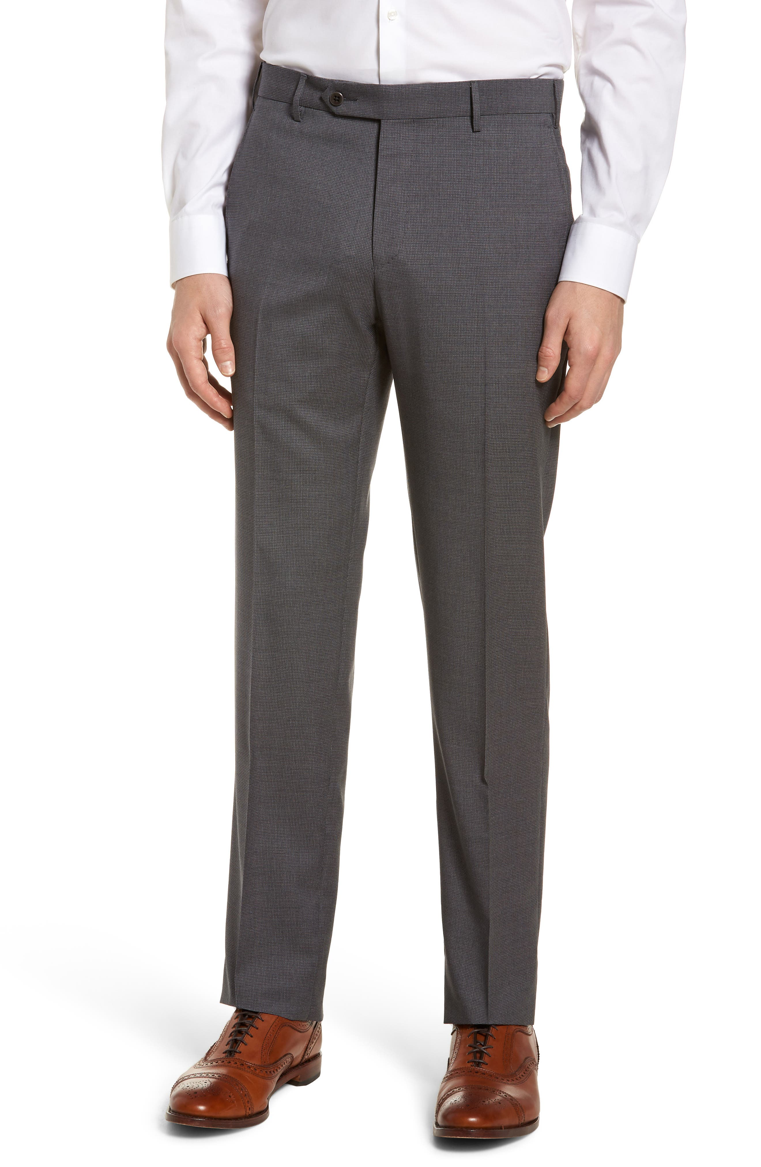 Parker Flat Front Pindot Wool Trousers,                         Main,                         color, Grey