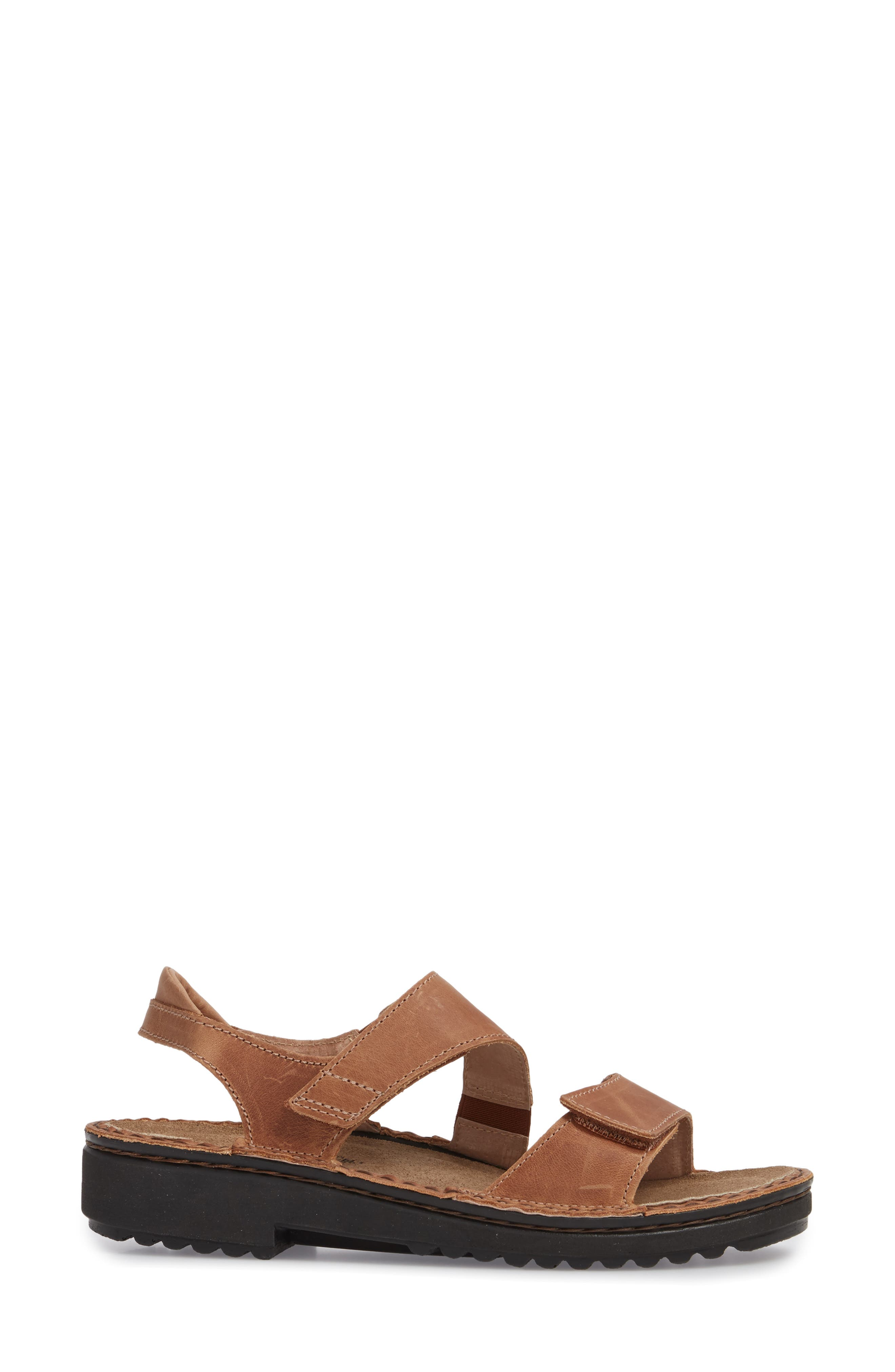 Enid Sandal,                             Alternate thumbnail 3, color,                             Latte Brown Leather