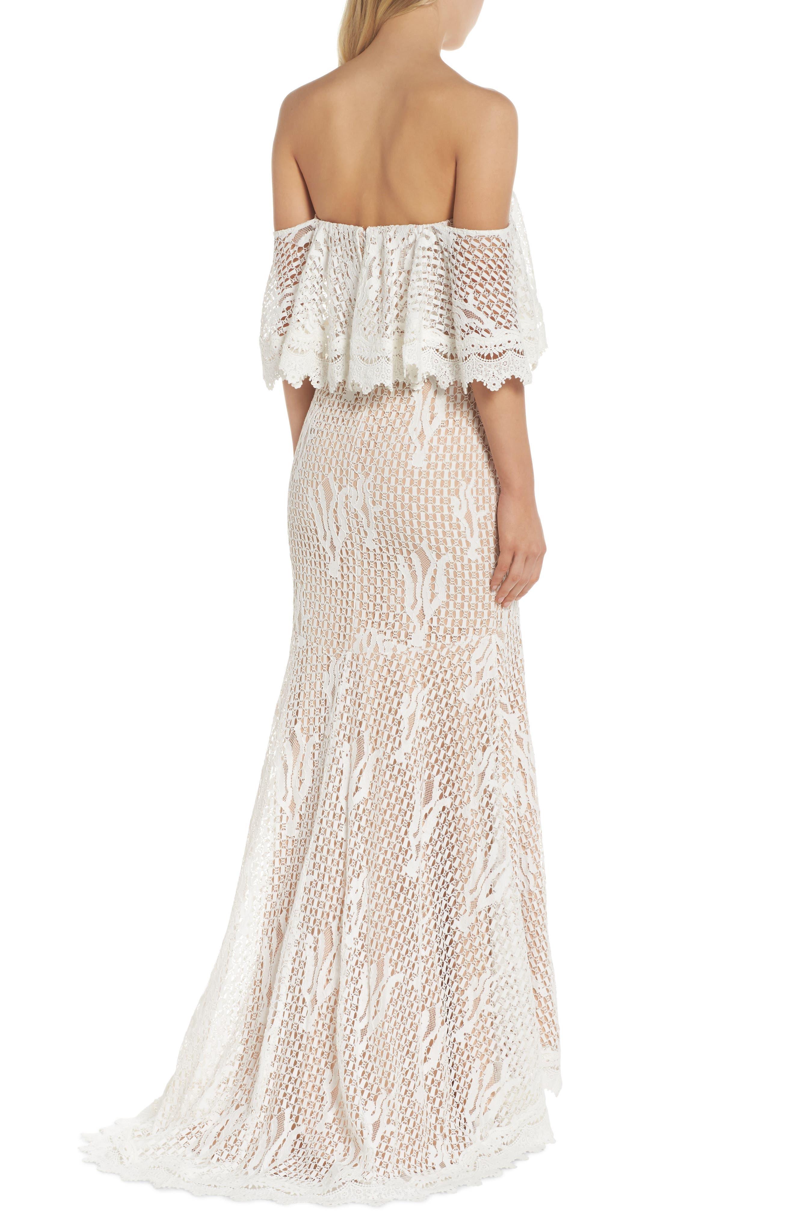 Davilea Off the Shoulder Lace Gown,                             Alternate thumbnail 2, color,                             Ivory