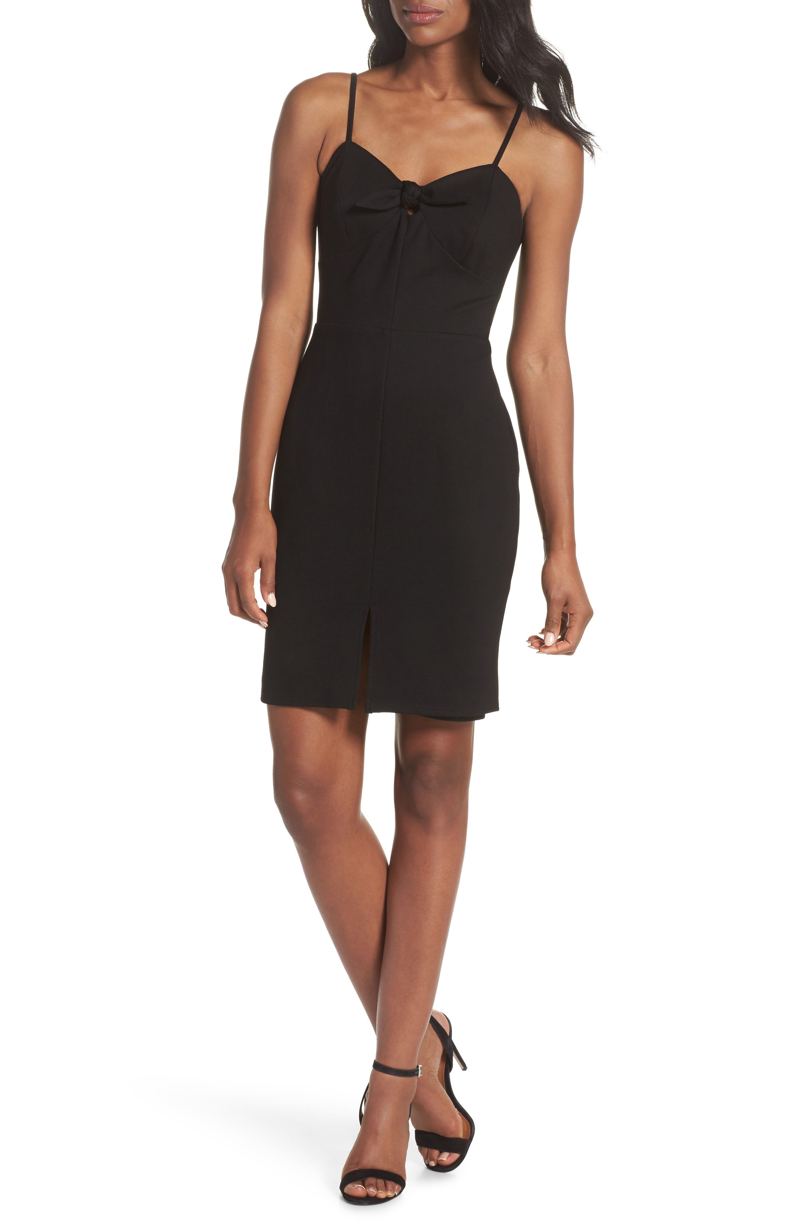 Raynelle Tie Front Sheath Dress,                             Main thumbnail 1, color,                             Black