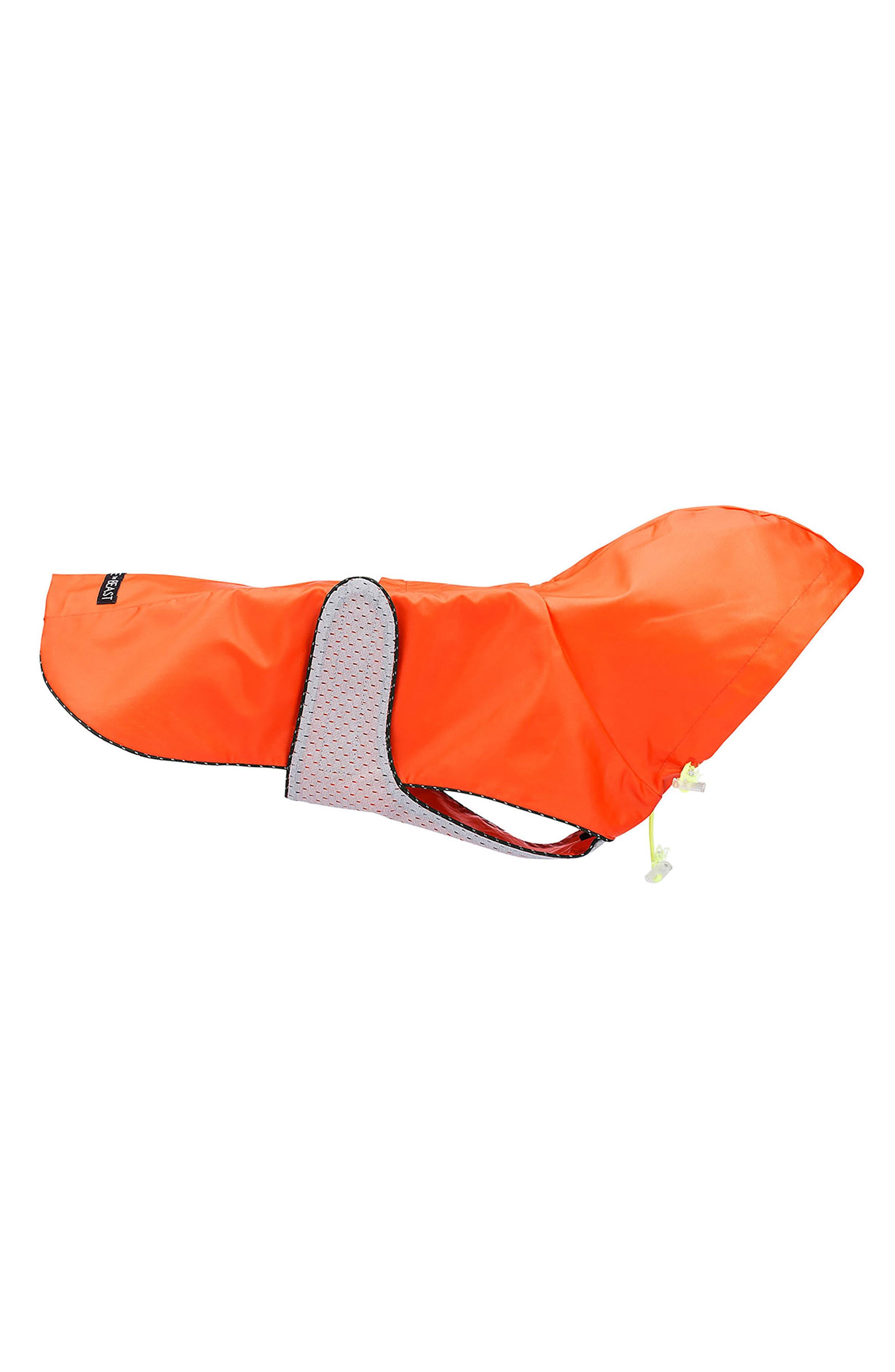 Dog Rain Jacket with Mesh Lining,                         Main,                         color, Orange