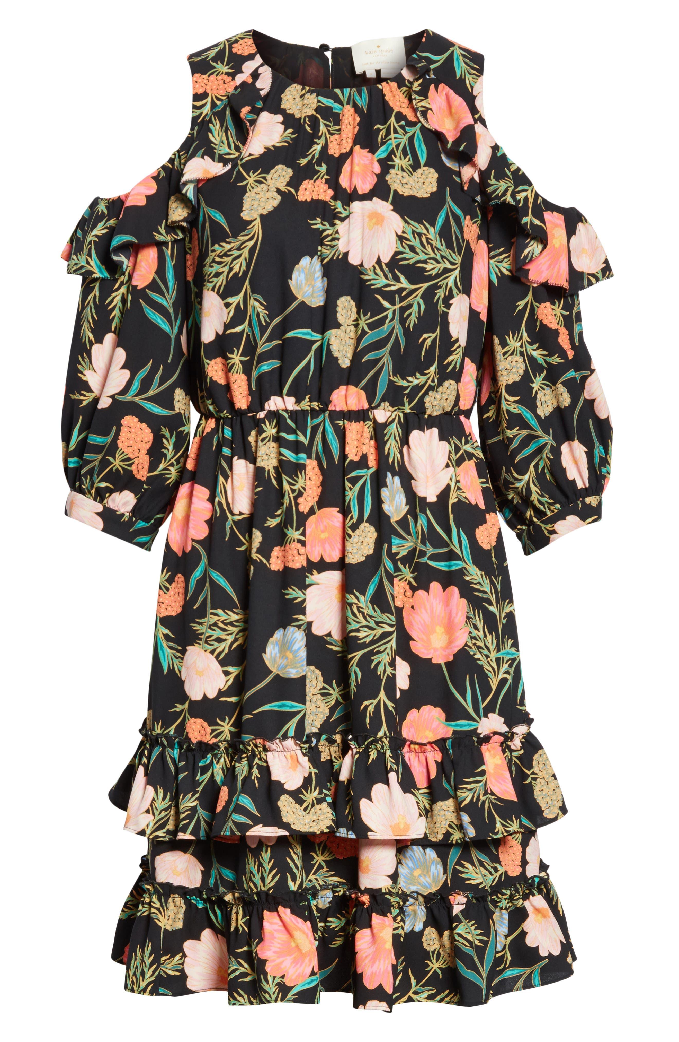 blossom cold shoulder dress,                             Alternate thumbnail 6, color,                             Black