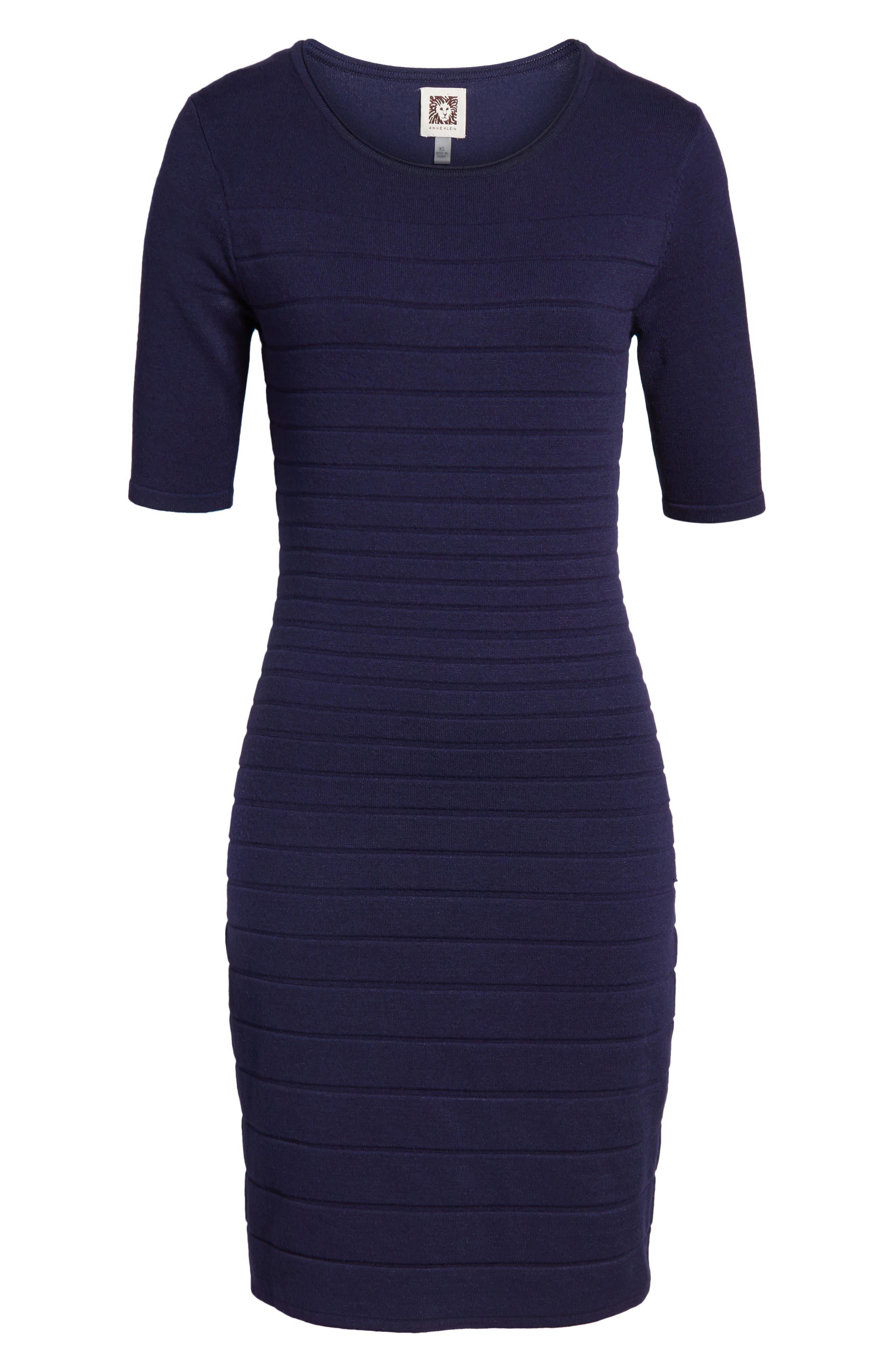Textured Stripe Knit Dress,                             Alternate thumbnail 6, color,                             Monaco