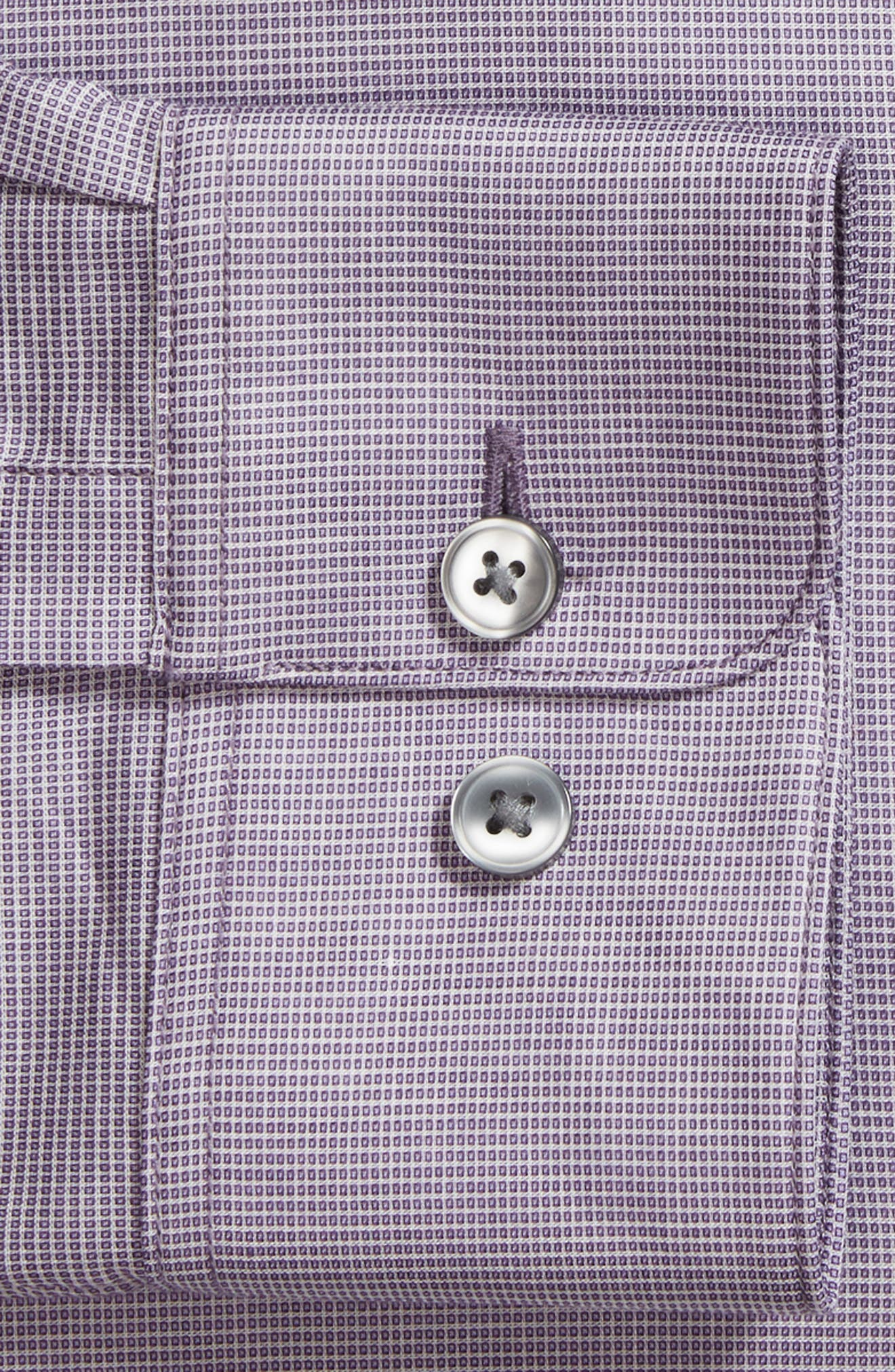 Slim Fit Stretch Microdot Dress Shirt,                             Alternate thumbnail 5, color,                             Purple